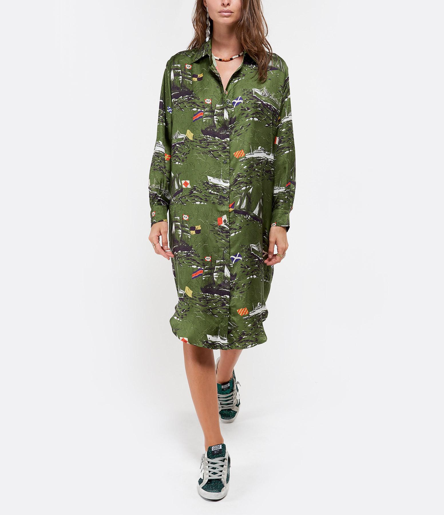 LA PRESTIC OUISTON - Robe Carnac Soie Vert Navire