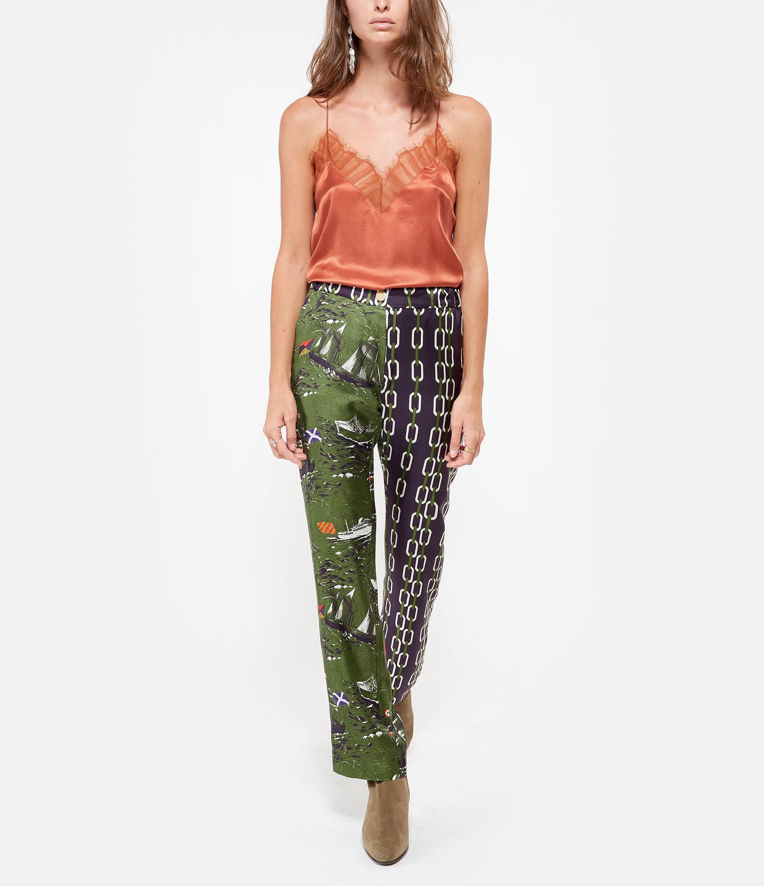 LA PRESTIC OUISTON - Pantalon Lucky Soie Vert Navire