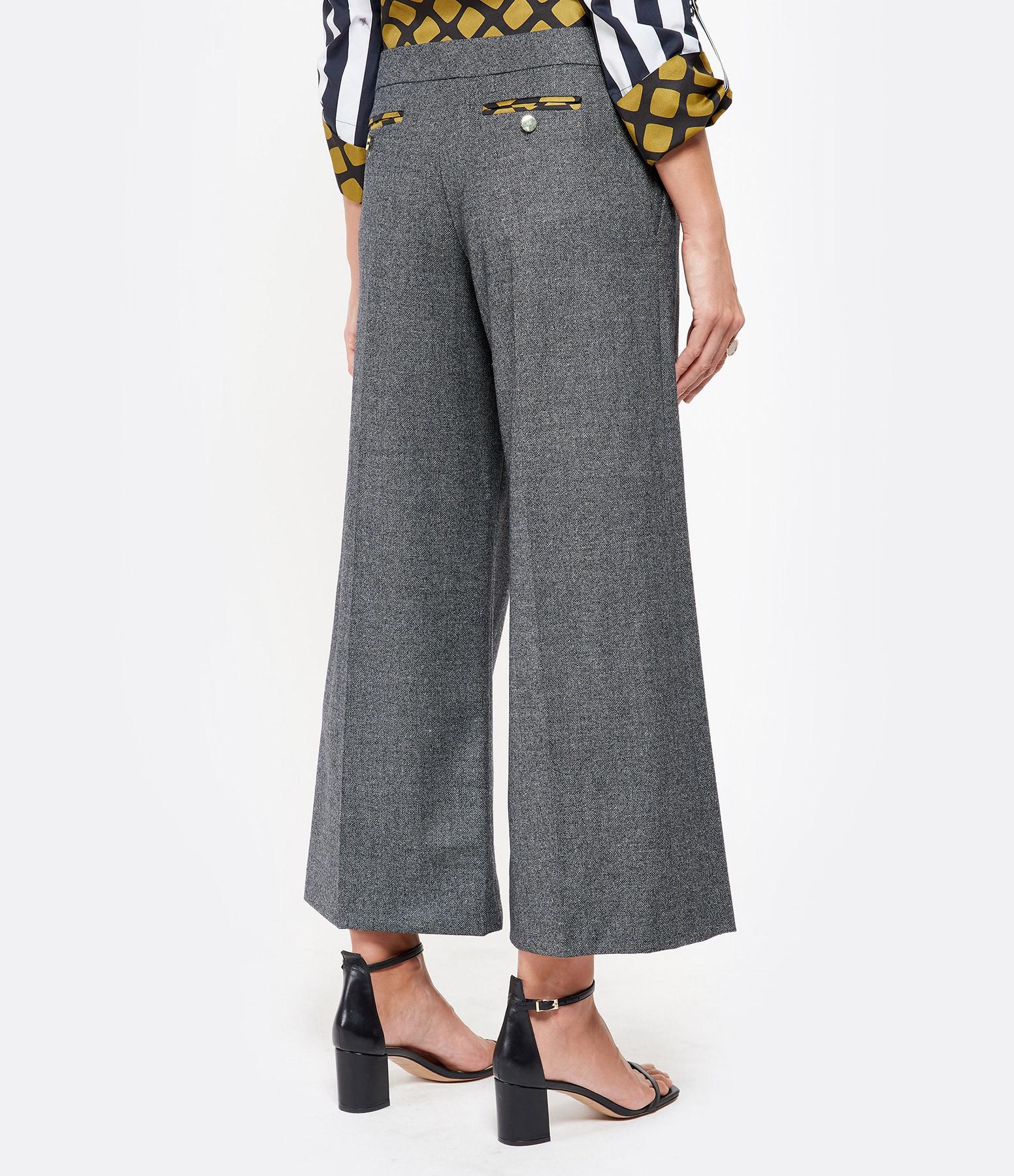 LA PRESTIC OUISTON - Pantalon Yves Laine Chiné Noir