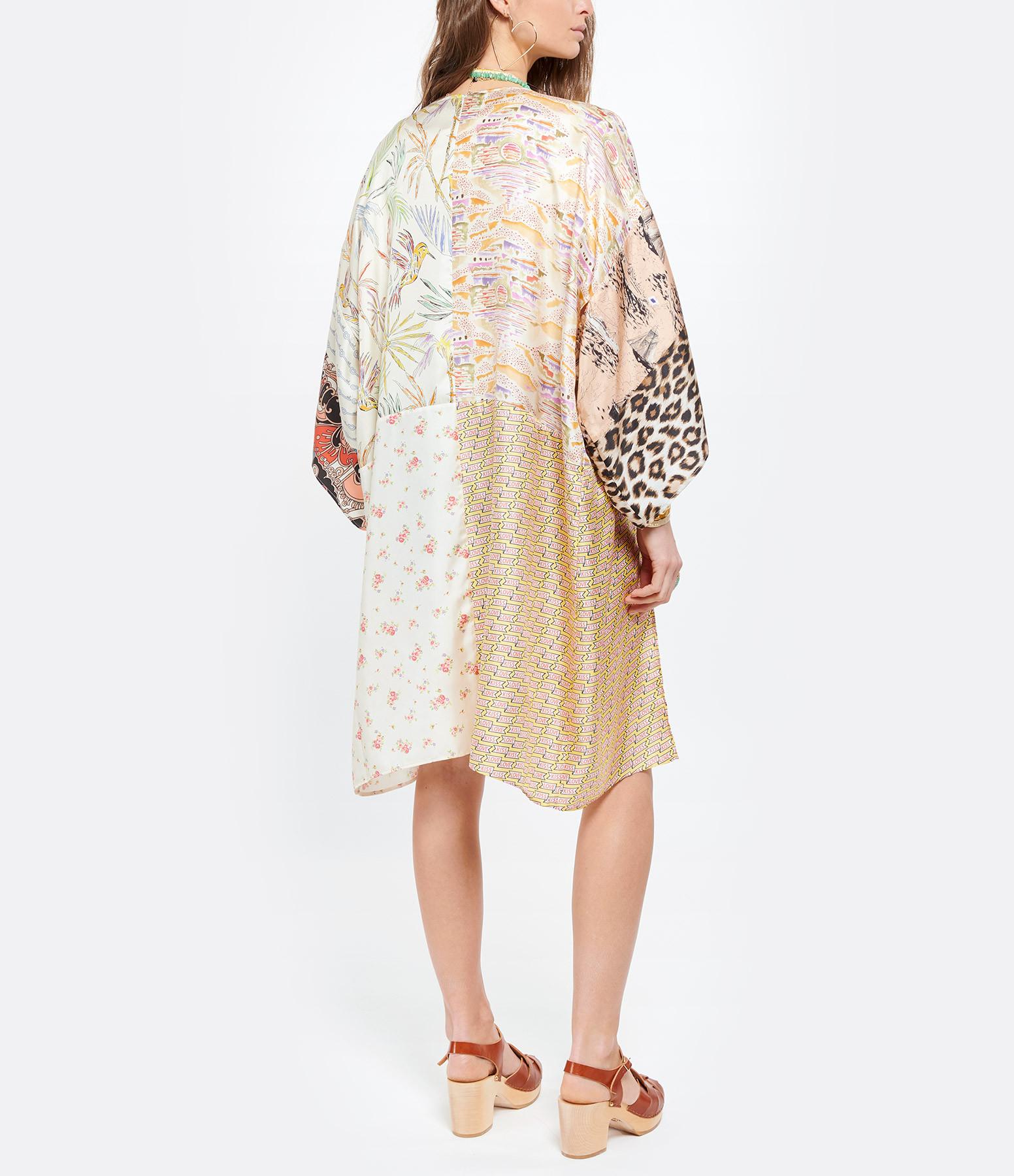 LA PRESTIC OUISTON - Veste Kimono Plage Soie Sunset Beige Imprimé