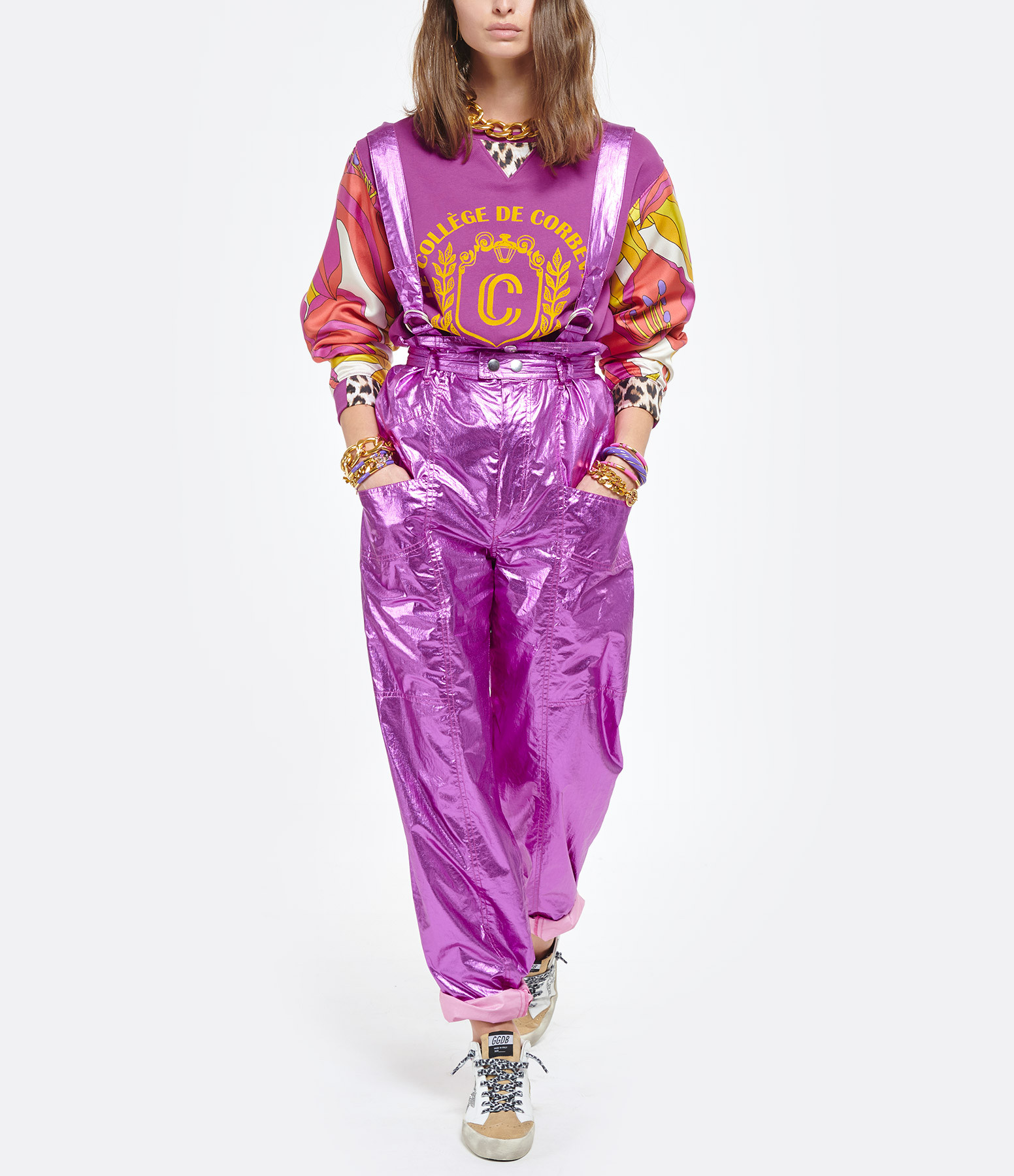 LA PRESTIC OUISTON - Pull Harris Floque Coton Violet
