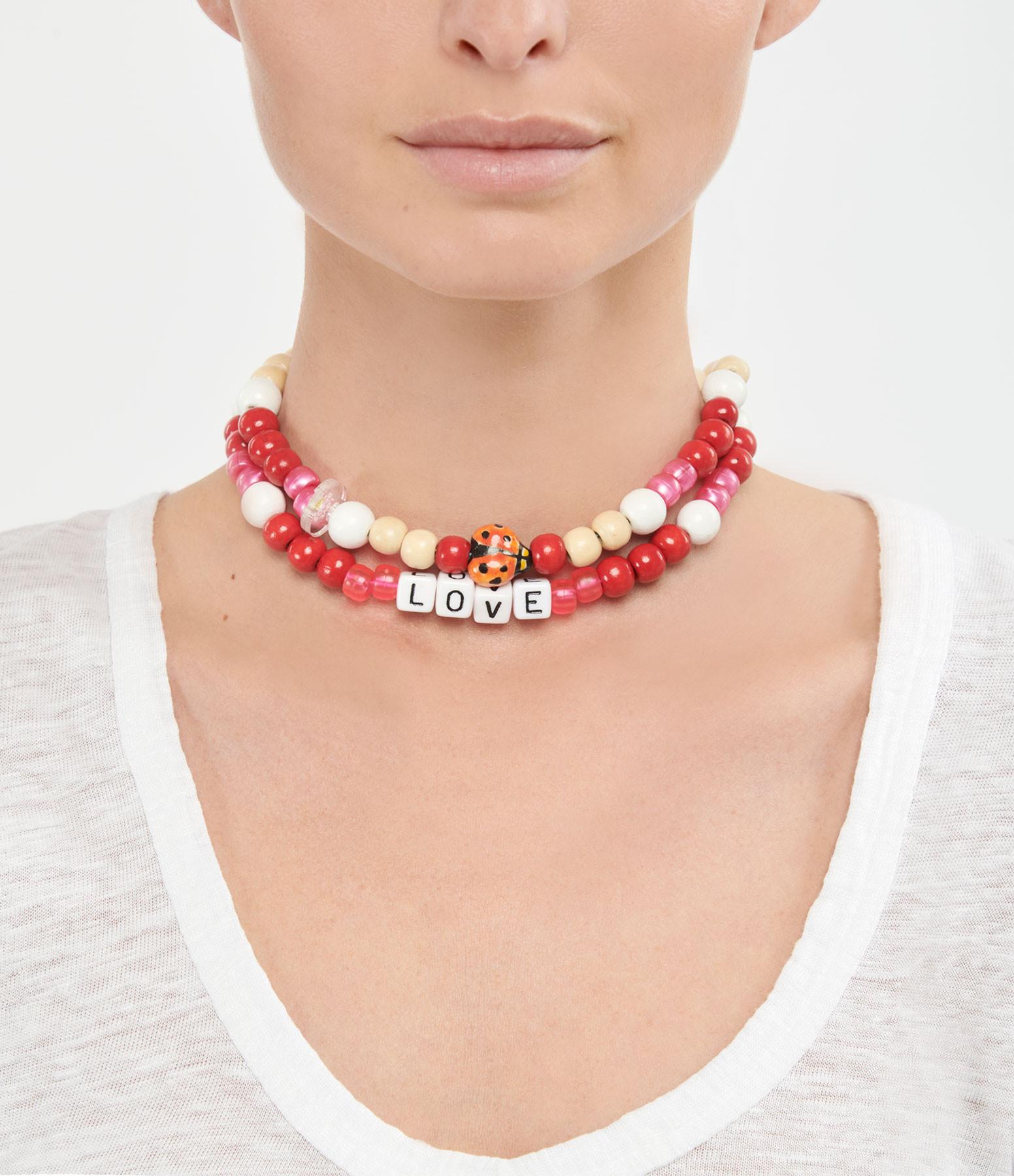LAUREN RUBINSKI - Collier Love Beads Bois Plastique LOVE