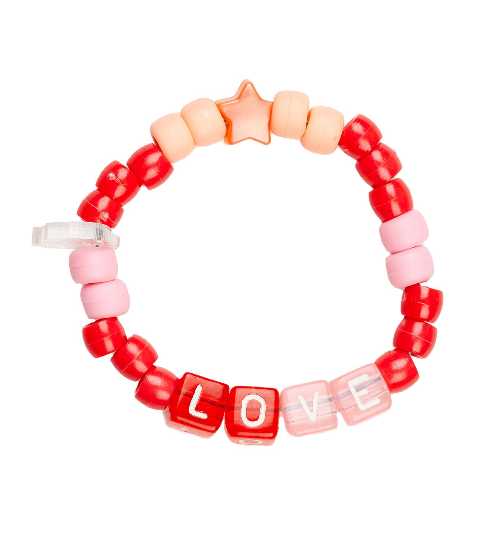 LAUREN RUBINSKI - Bracelet Love Beads LOVE Rouge Rose
