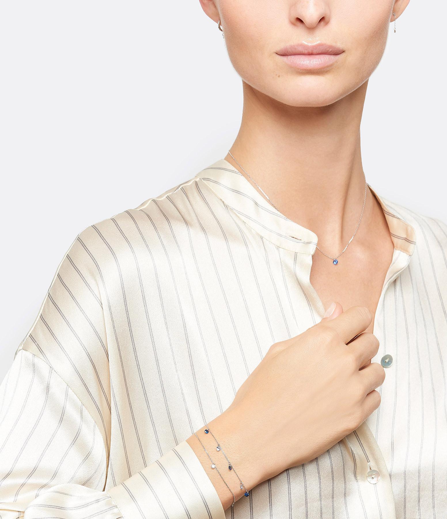 LA BRUNE & LA BLONDE - Bracelet Confetti 5 Saphirs Bleus Or Blanc