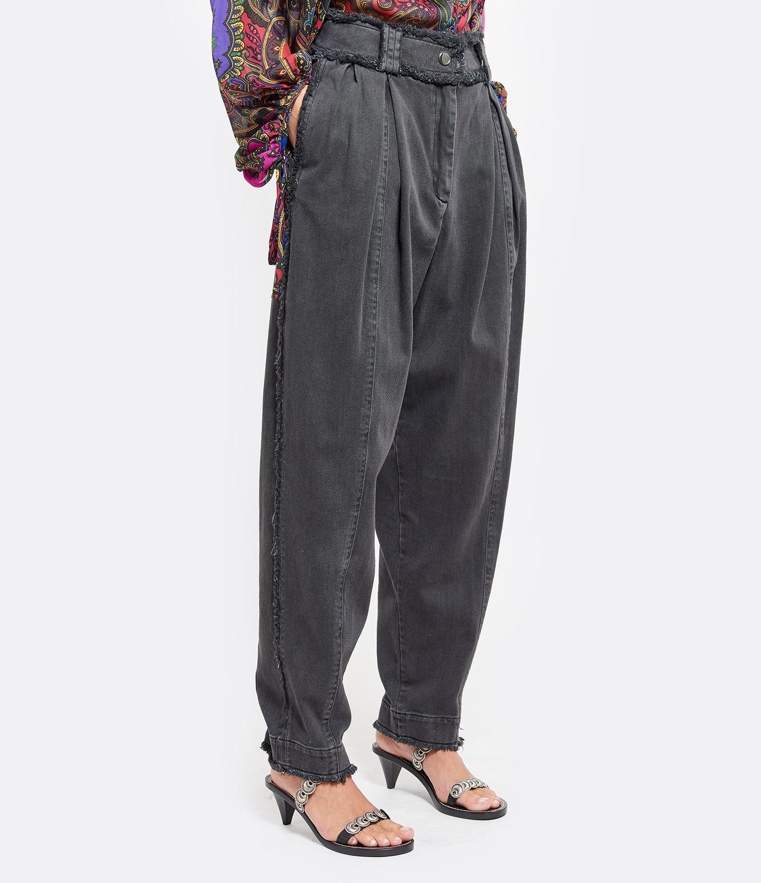 LAURENCE BRAS - Pantalon Plug Coton Denim Gris Charbon