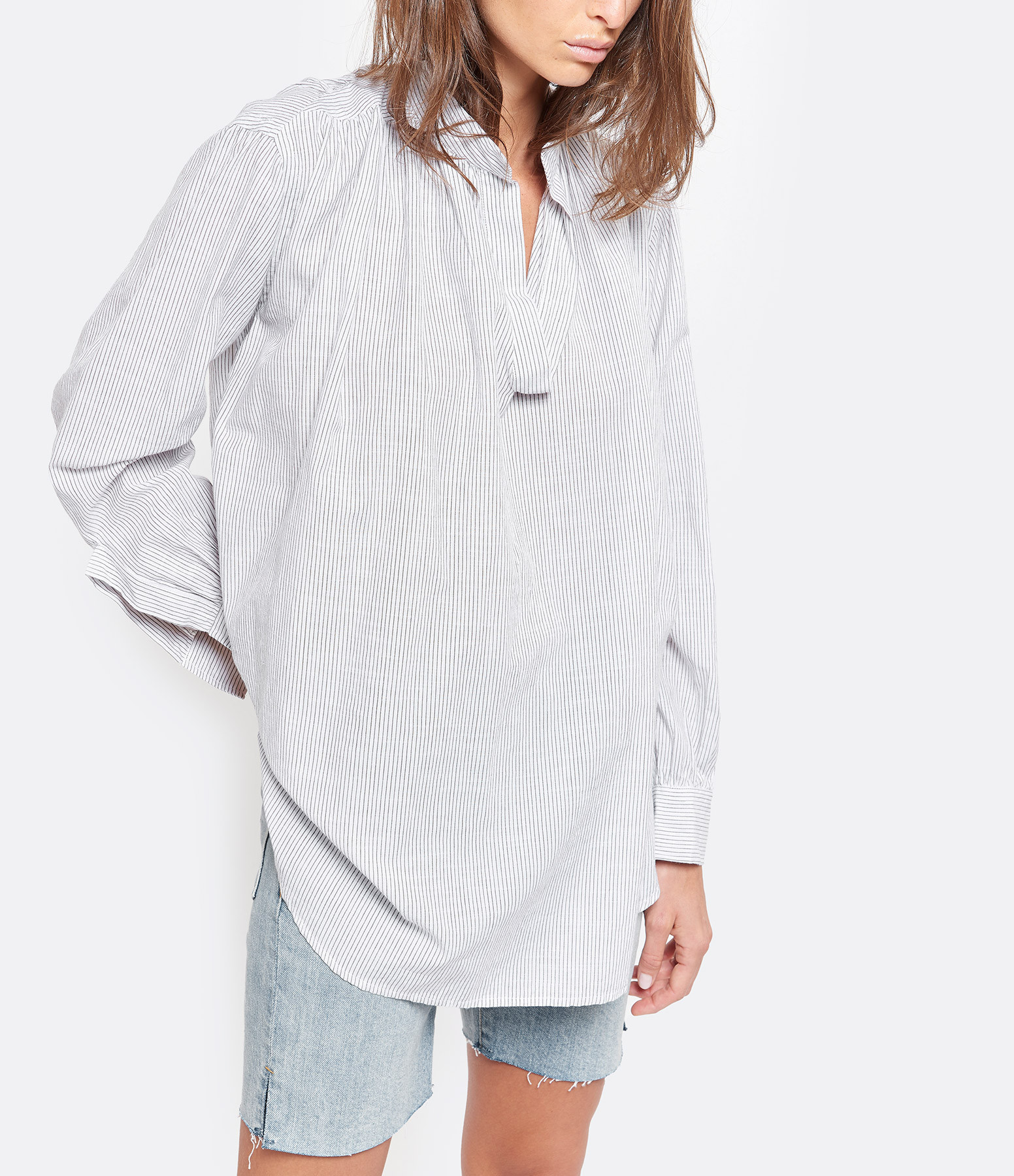 LAURENCE BRAS - Blouse Juul Coton Rayures Gris