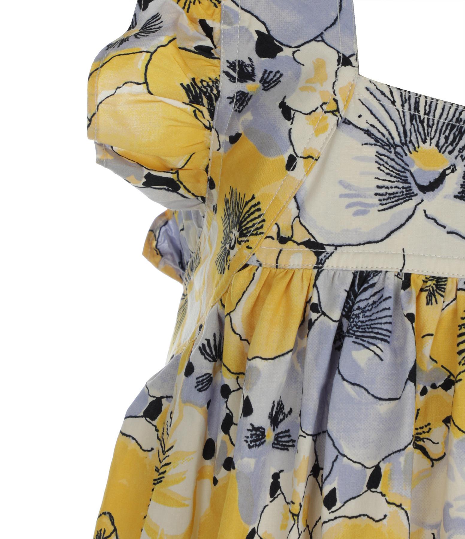 LAURENCE BRAS - Robe Fillette Coton Imprimé Jaune Orchidée