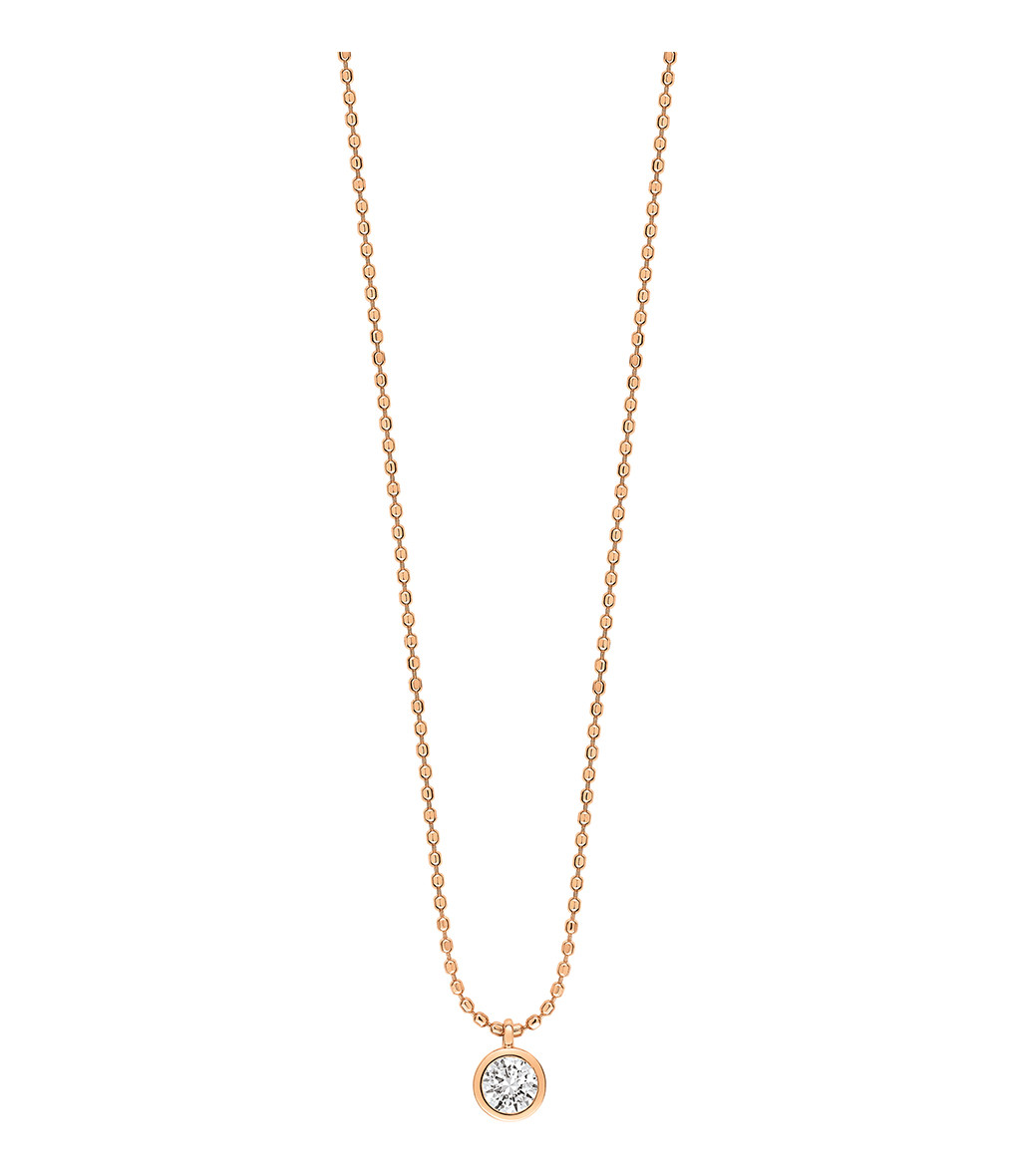 GINETTE_NY - Collier Lonely Diamonds Simple Diamants Or Rose