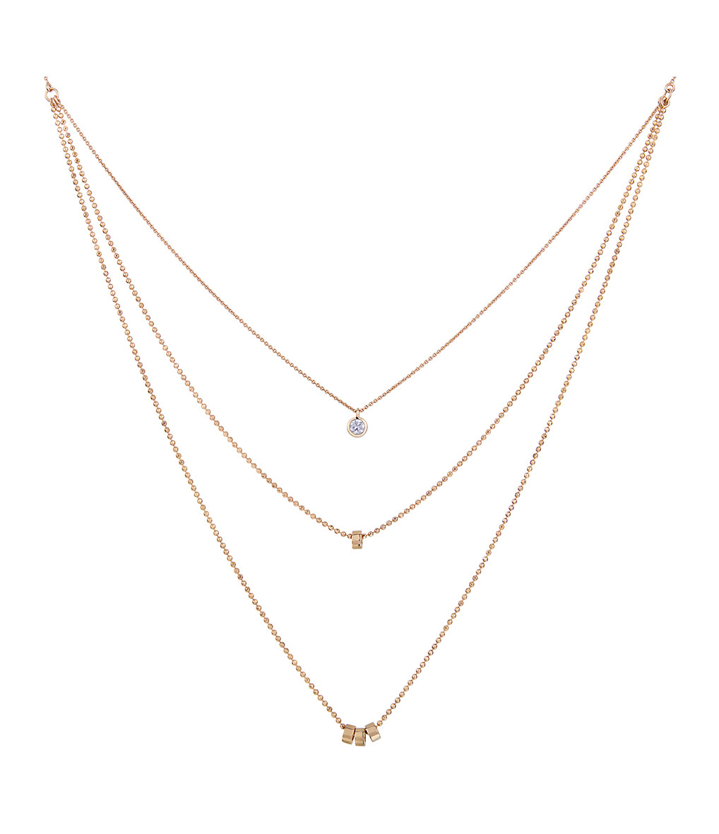 GINETTE_NY - Collier Lonely Diamonds Multi Diamants Or Rose