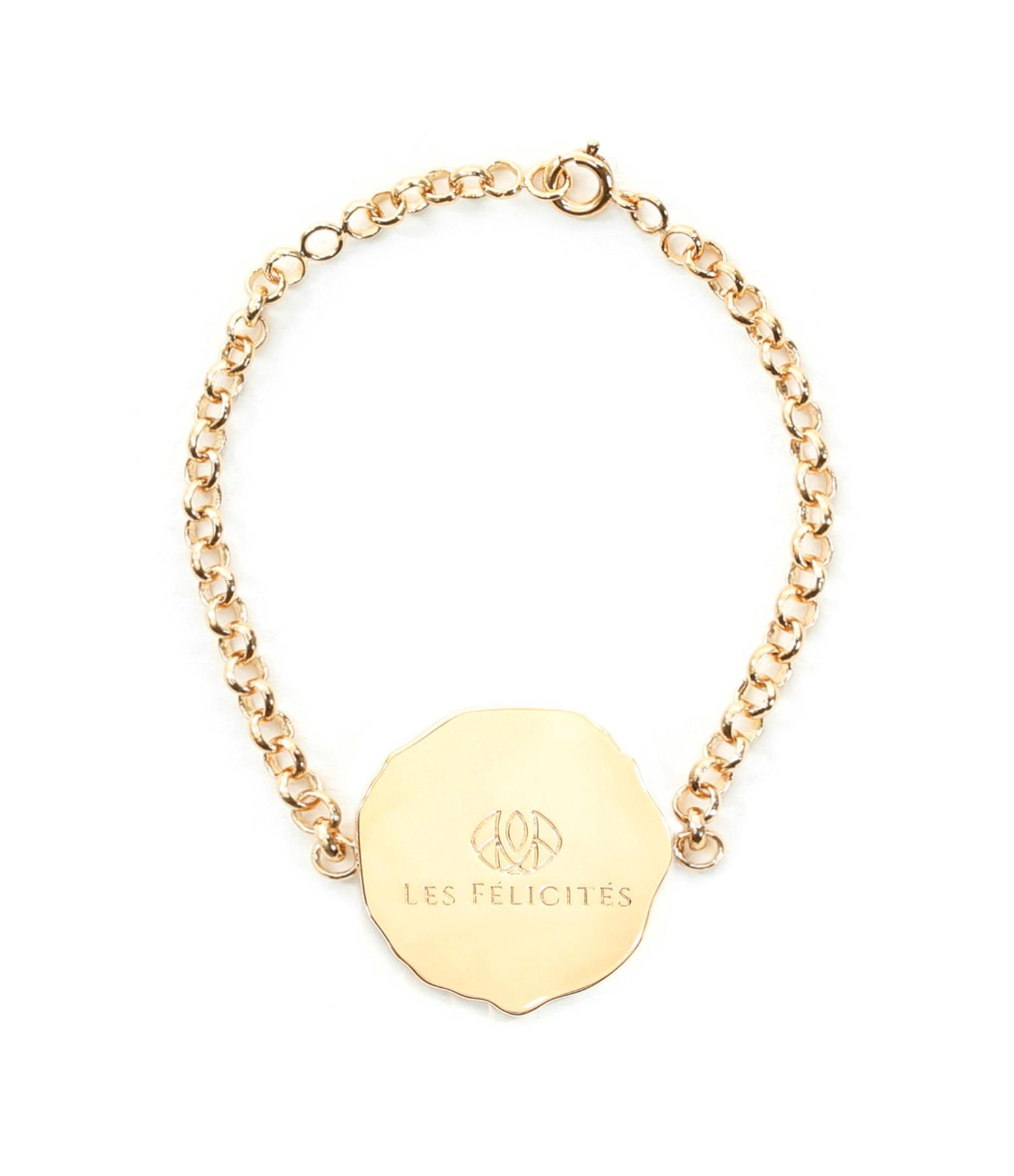 LES FÉLICITÉS - Bracelet Gourmette Médaille GM Amour Plaqué Or