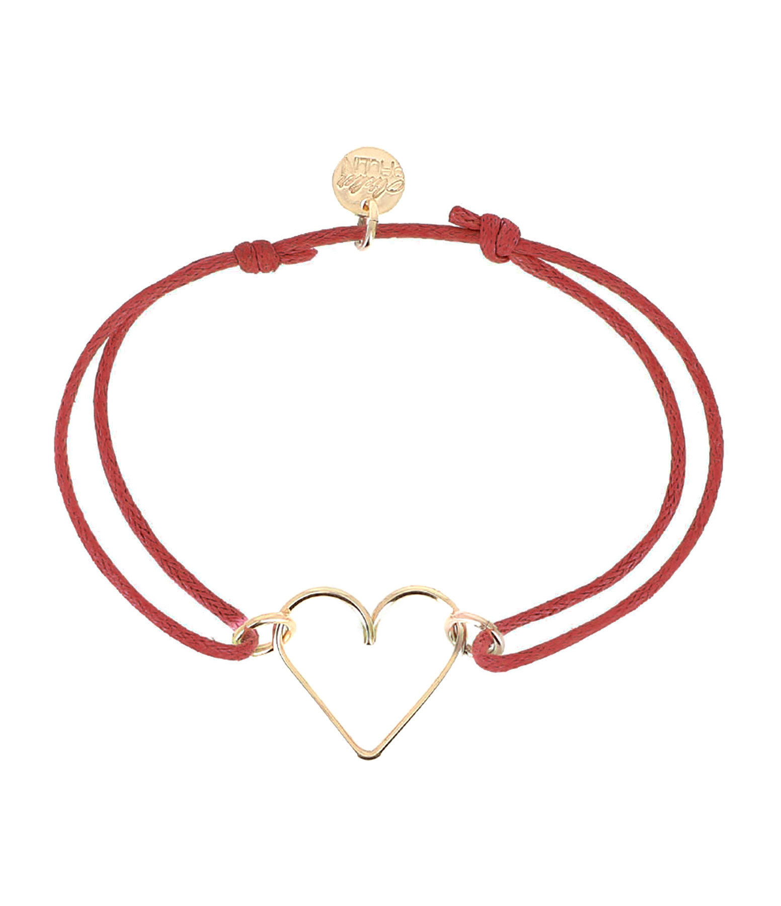 ATELIER PAULIN - Bracelet Cordon Ciré Rouge Cœur Gold Filled 14K, Exclusivité Lulli