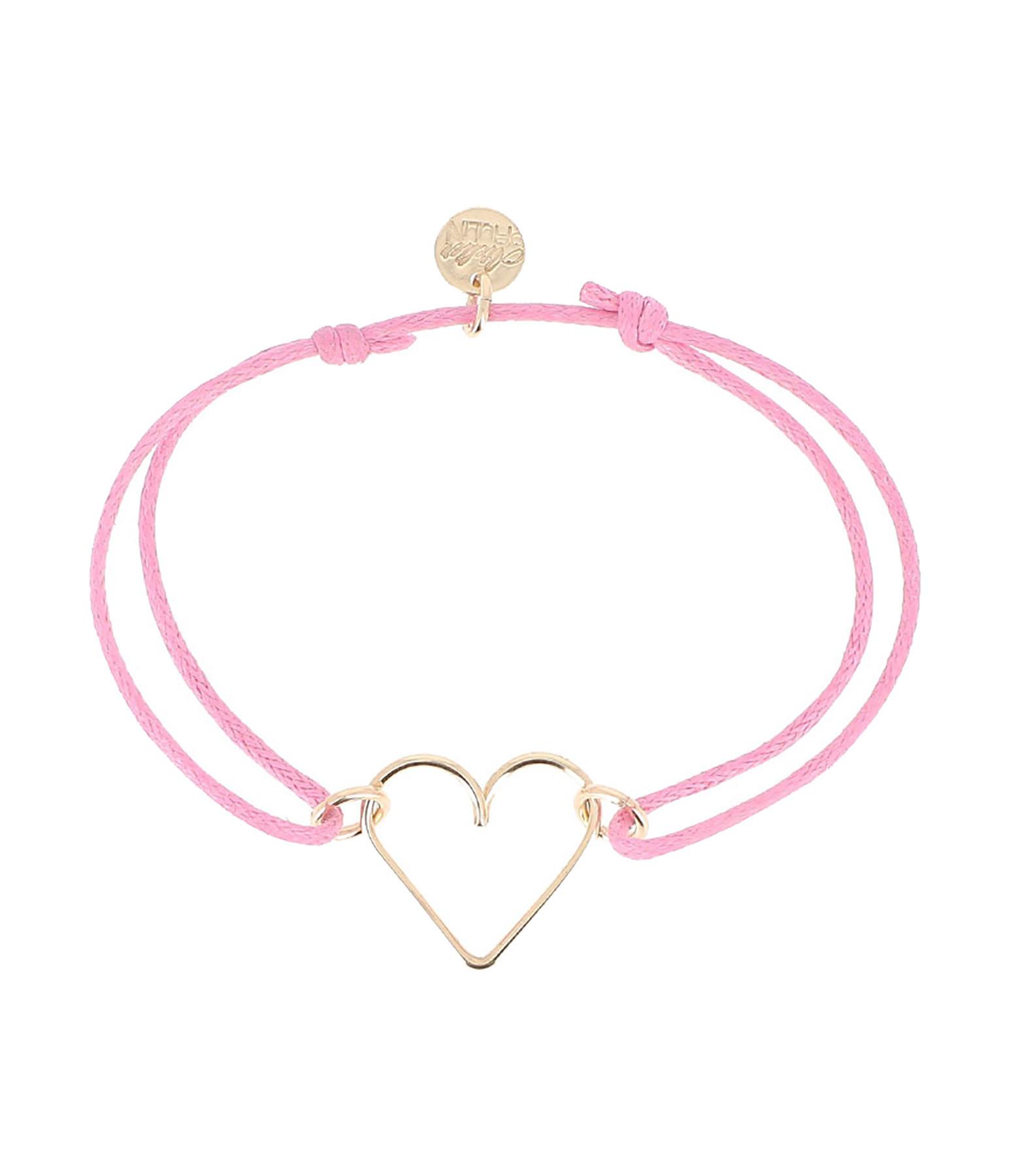 ATELIER PAULIN - Bracelet Cordon Ciré Mini Cœur AIDES Gold Filled