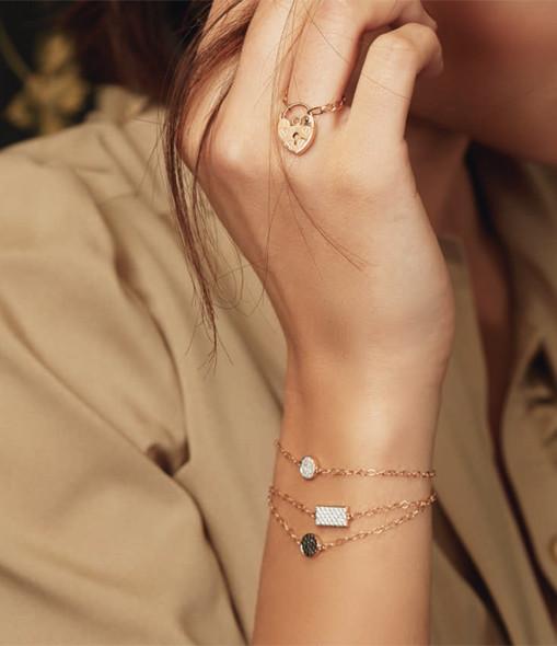 GINETTE_NY - Bracelet Mini Ever Disc Diamants Noirs
