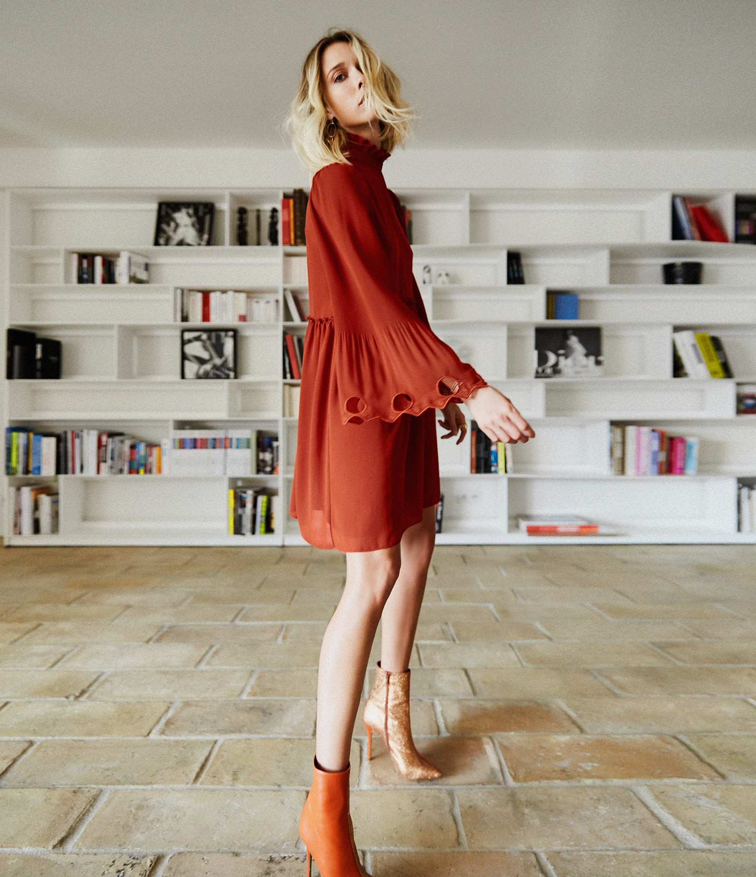 SEE BY CHLOE - Robe Volants Rouge Terre