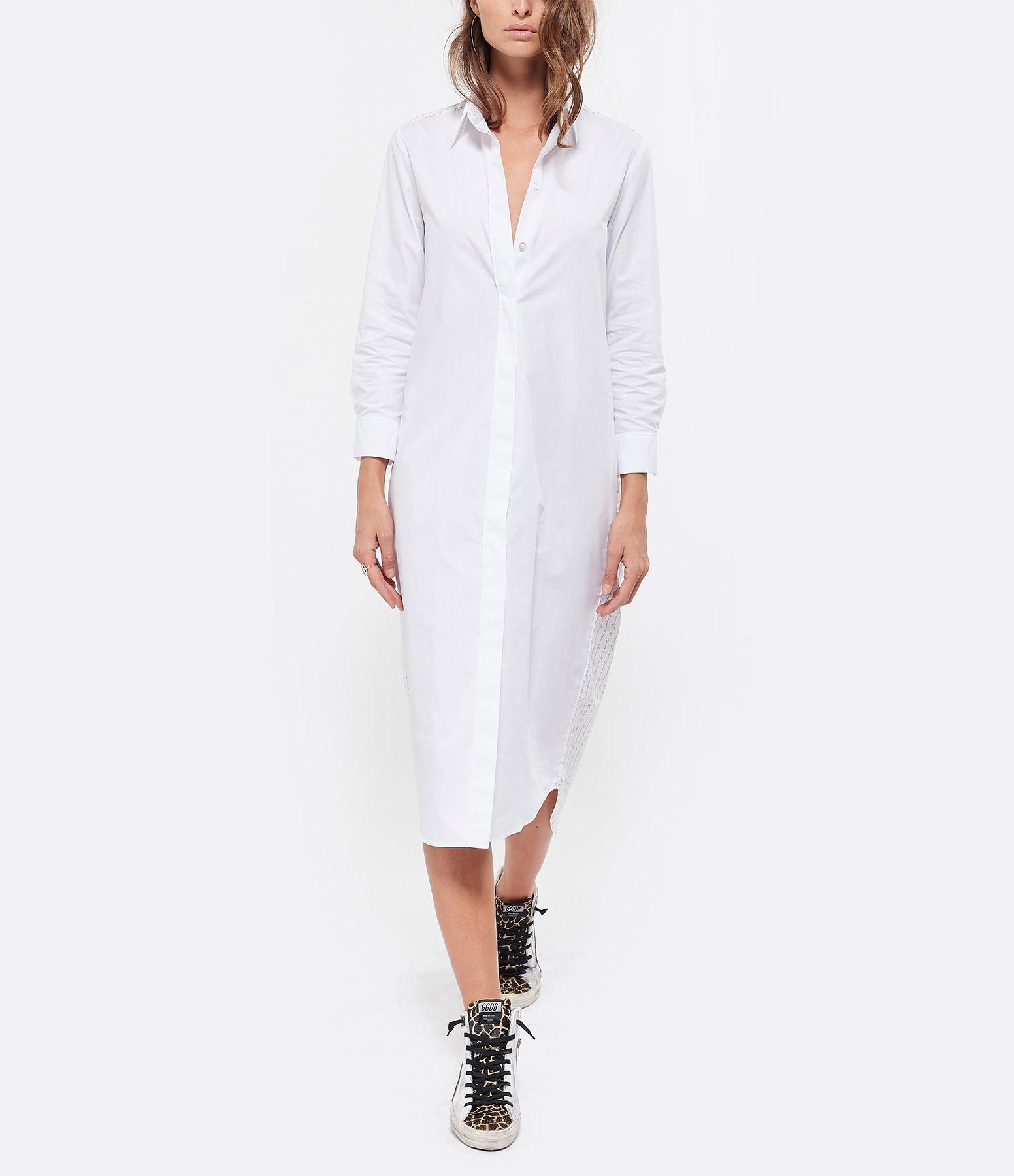 JEANNE VOULAND - Robe Chemise Bayae Blanc Rayures Noir