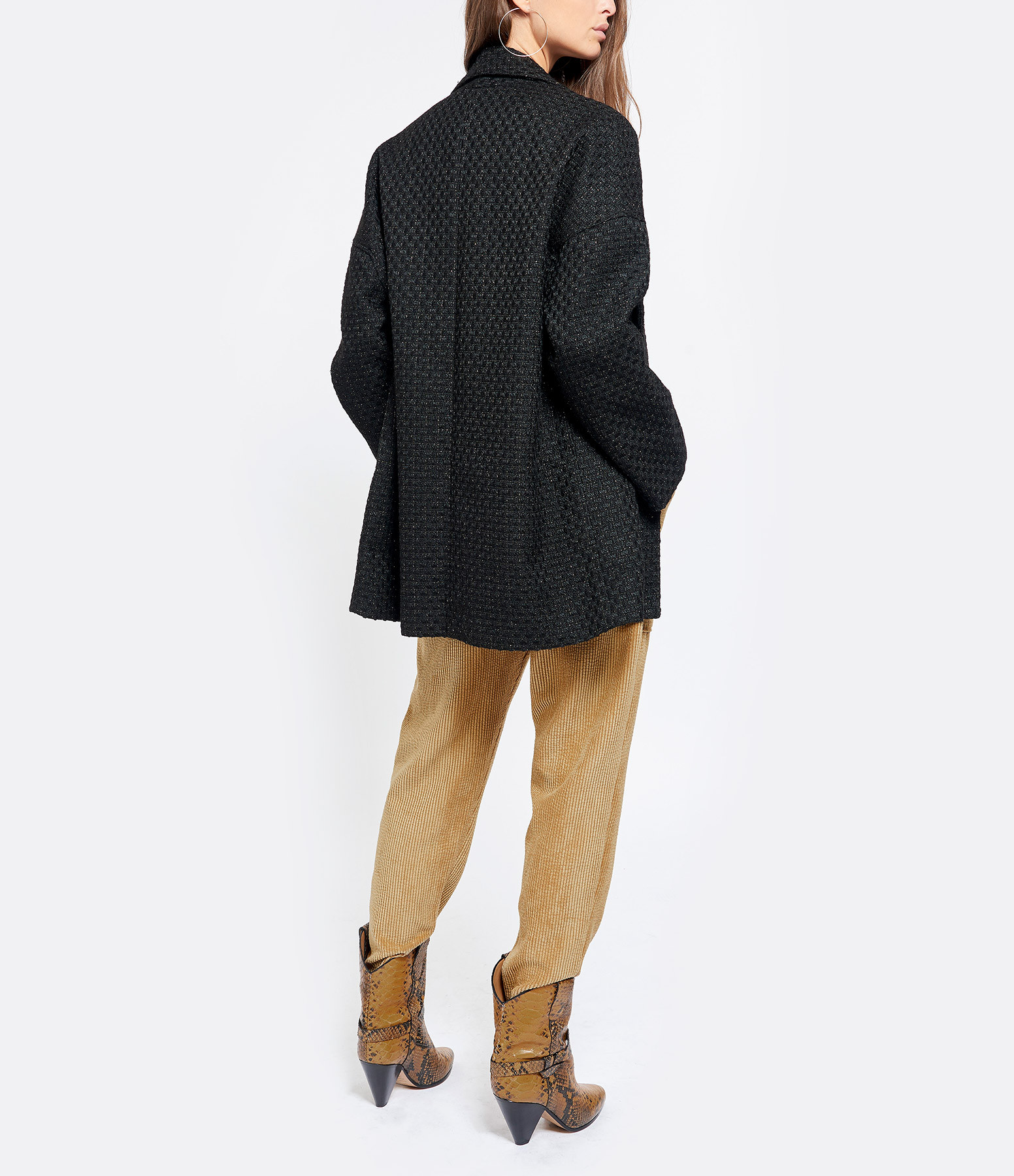 JEANNE VOULAND - Manteau Albe Tweed Lurex Noir