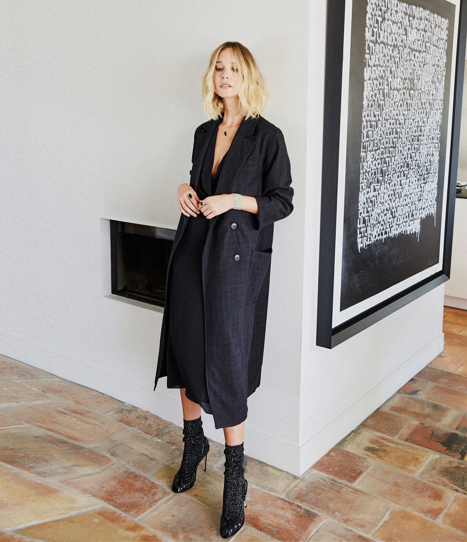 THEORY - Robe Longue Soie Noir