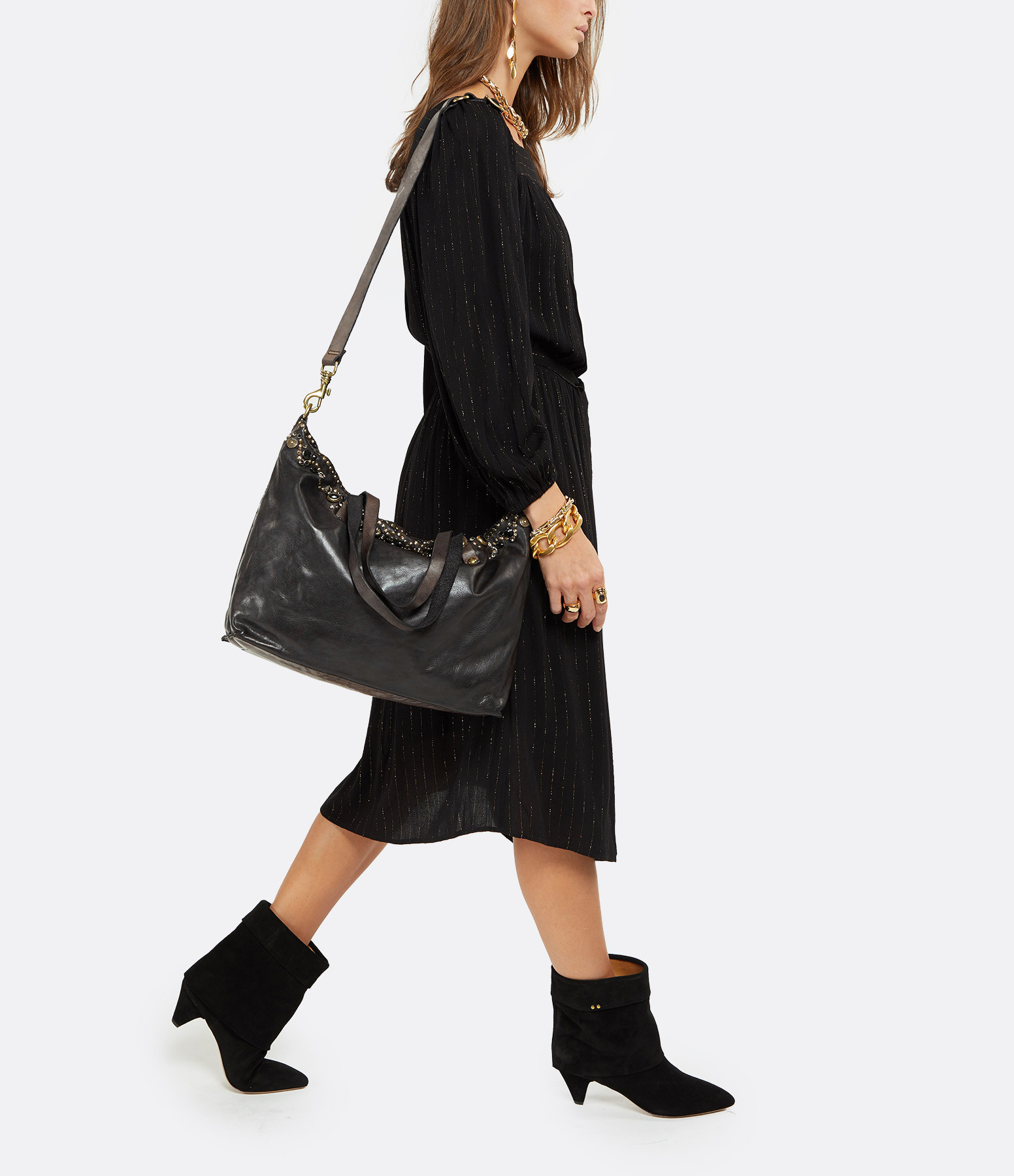 CAMPOMAGGI - Sac Shopping Large Cuir Vachette Clous Gris