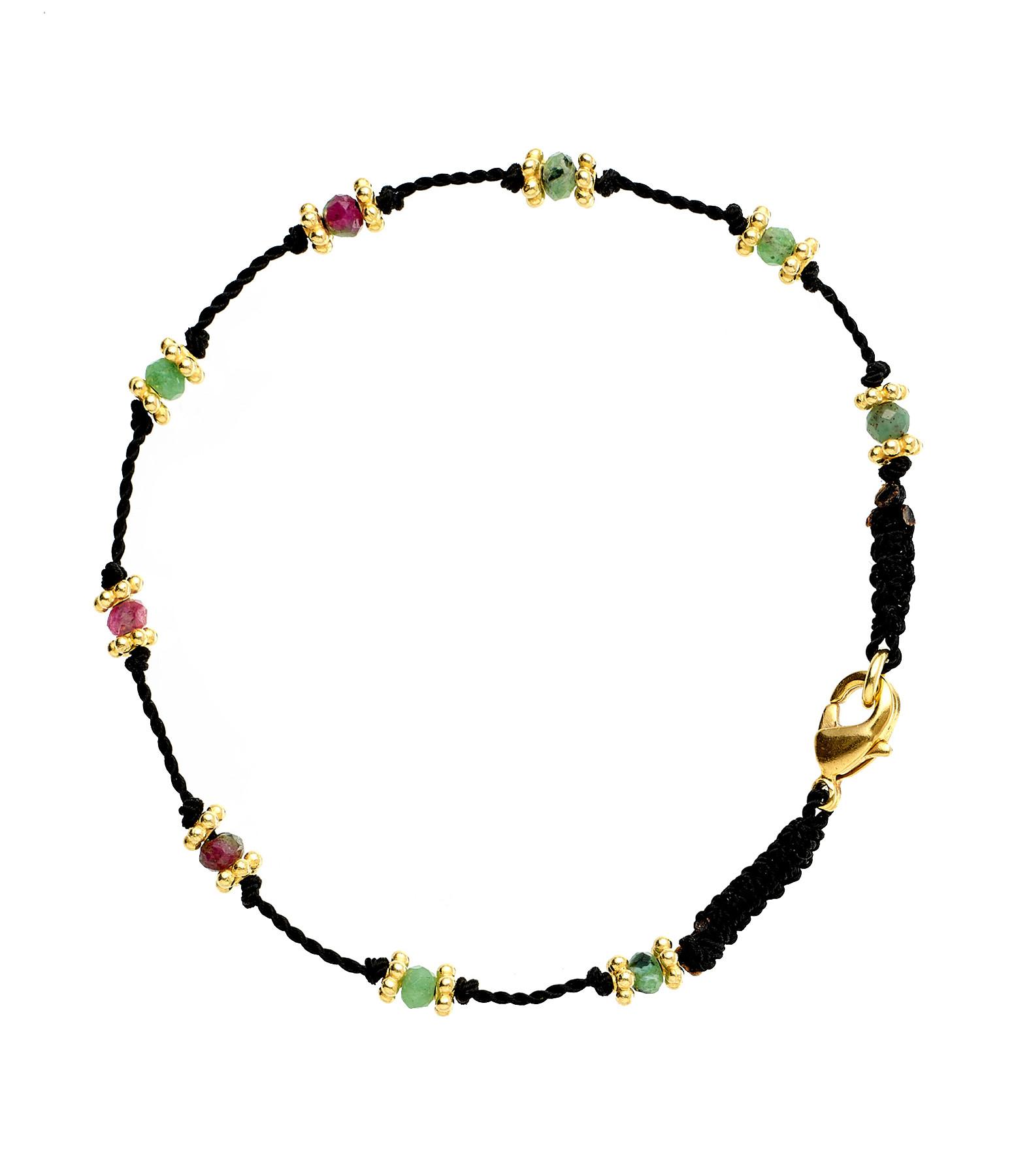 TITYARAVY - Bracelet Lotus Noir Rubisoizite Plaqué Or