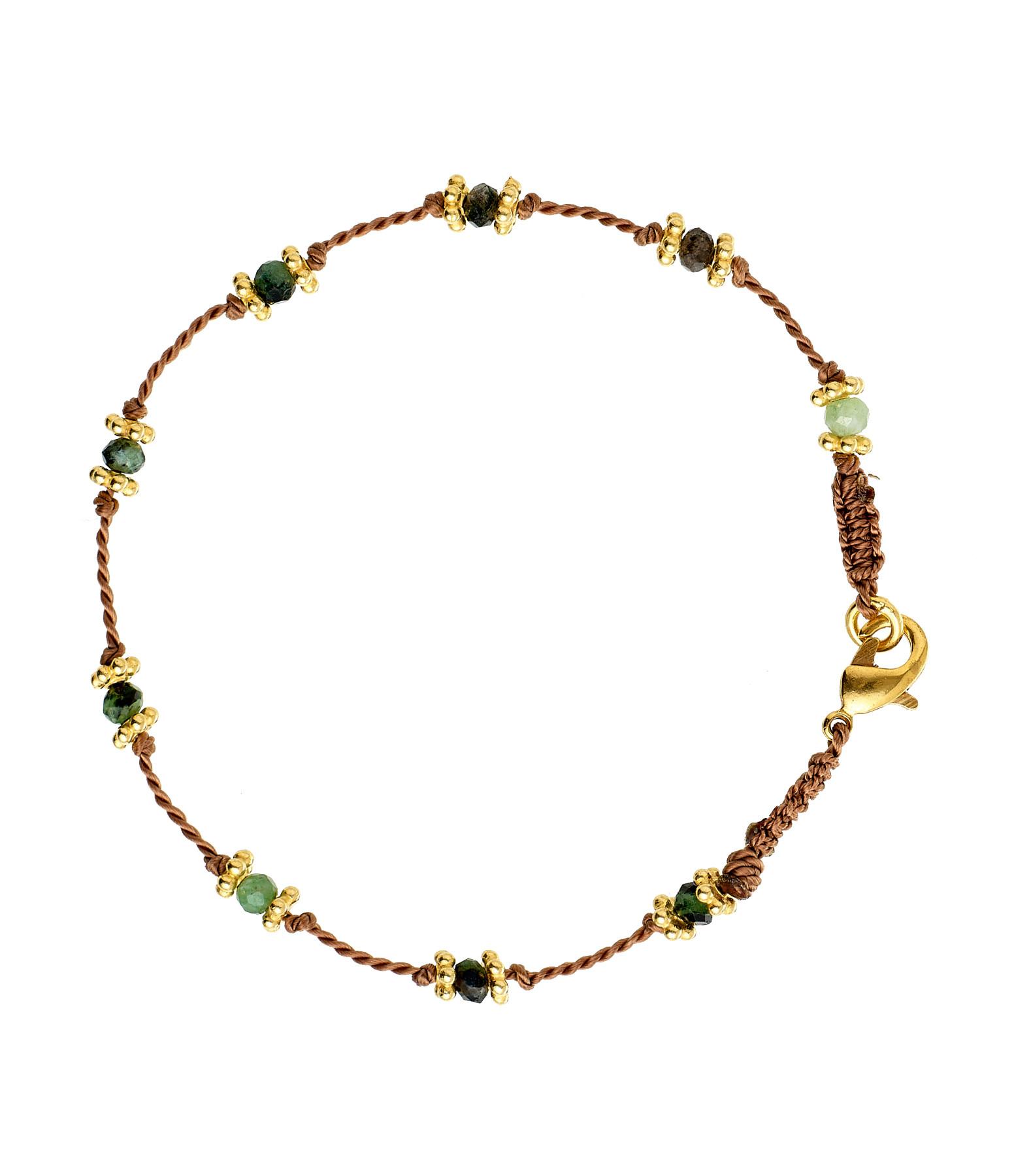 TITYARAVY - Bracelet Lotus Beige Rubisoizite Plaqué Or