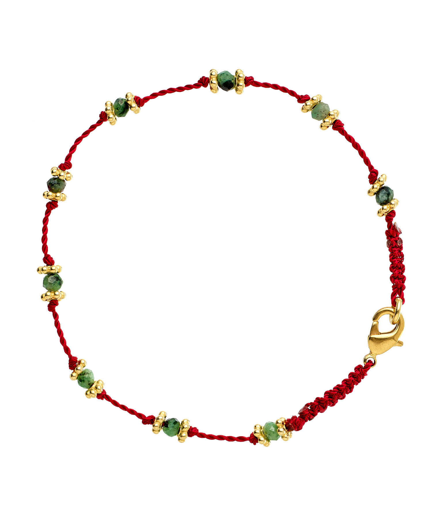 TITYARAVY - Bracelet Lotus Rouge Rubisoizite Plaqué Or