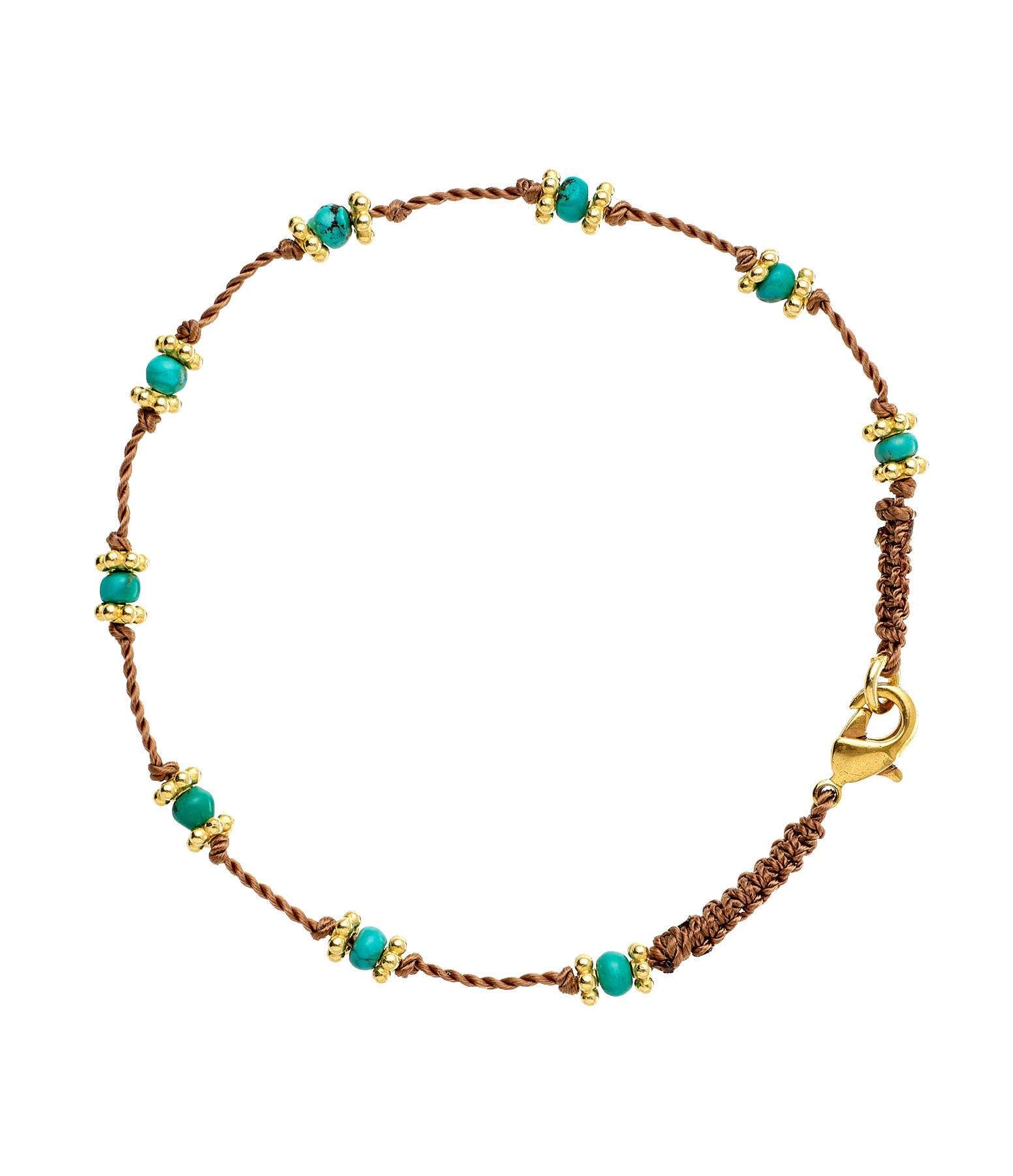 TITYARAVY - Bracelet Lotus Beige Turquoise Plaqué Or