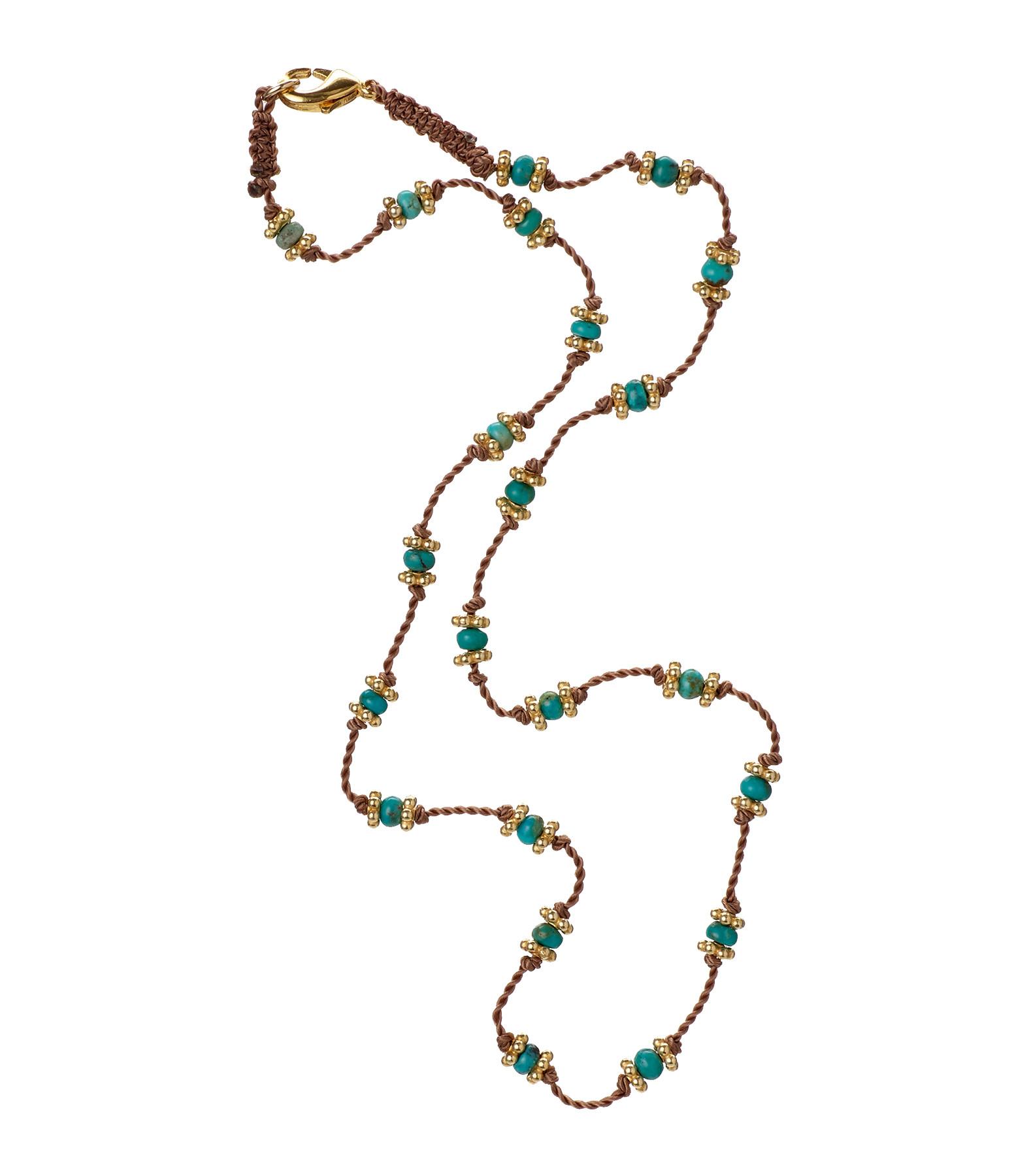 TITYARAVY - Collier Long Lotus Beige Turquoise Plaqué Or