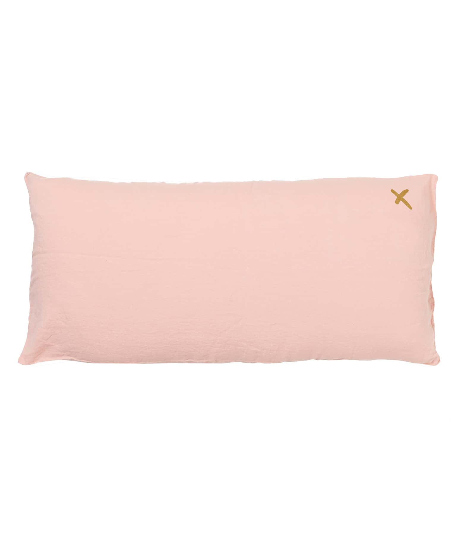 BED AND PHILOSOPHY - Coussin Lovers Lin Blush Print Croix Doré