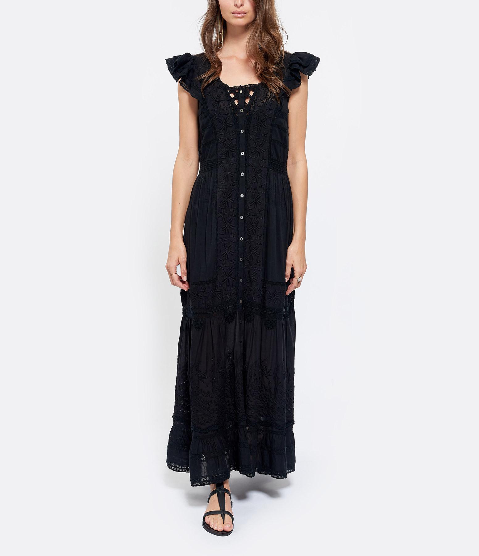 LOVE SHACK FANCY - Robe Valentina Coton Noir