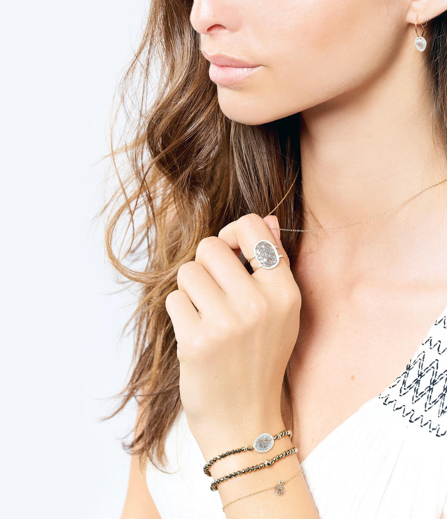 LSONGE - Bracelet Double Eclat Médaille M Argent Blanc Hématite Kaki