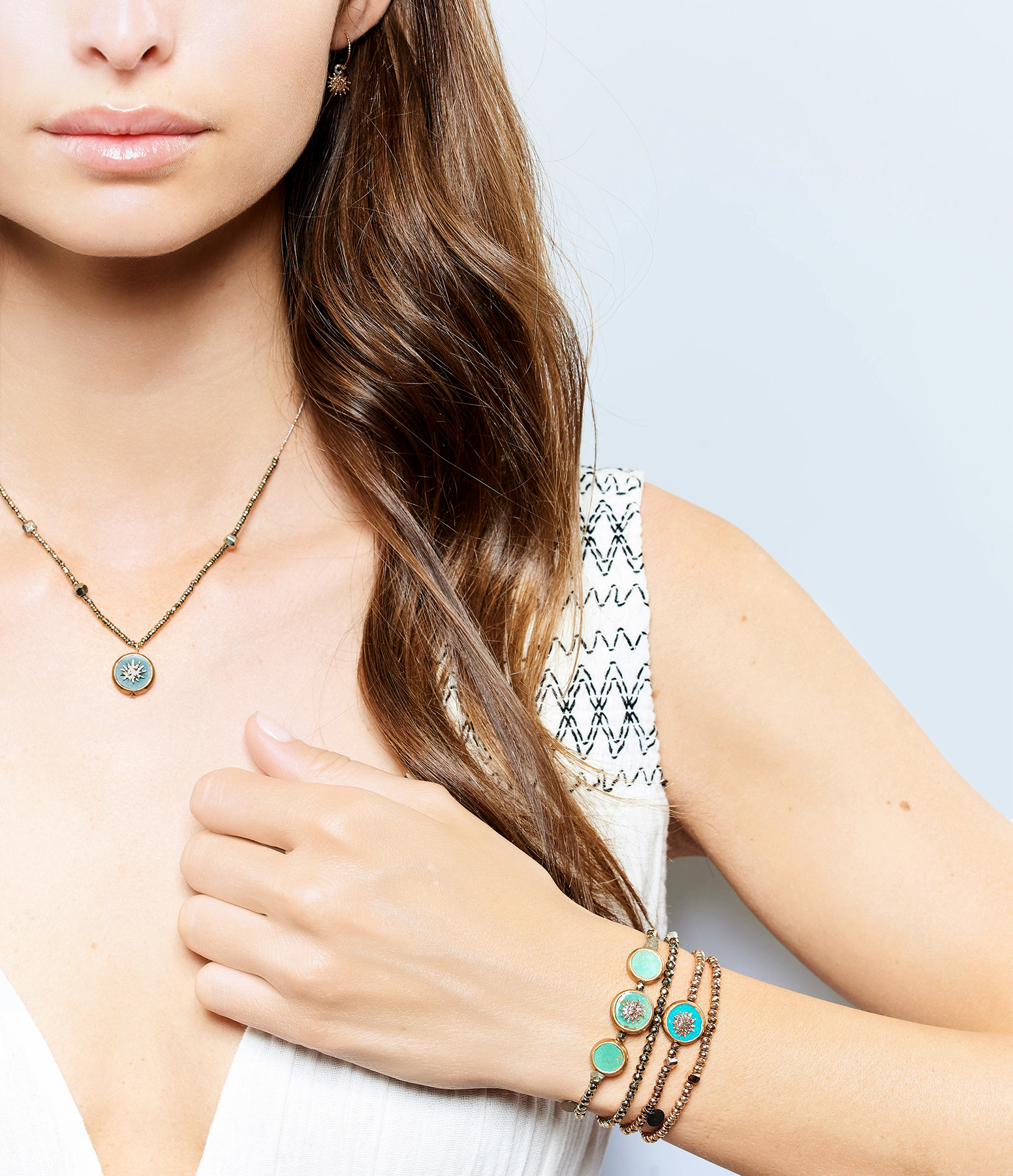 LSONGE - Bracelet Soleil Double Hématite Kaki 3 Turquoises