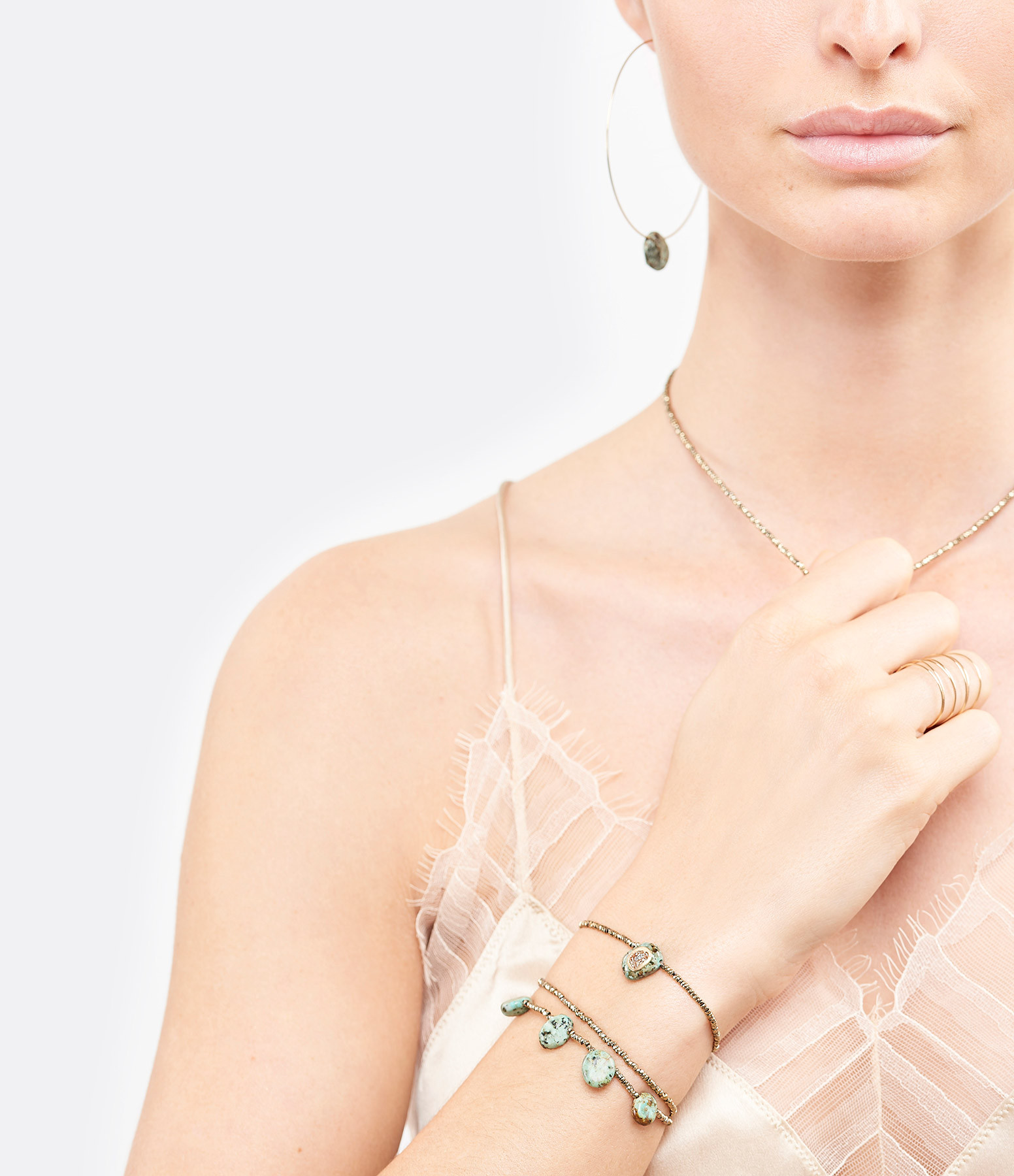 LSONGE - Bracelet Minéral Hématite Turquoise AGD