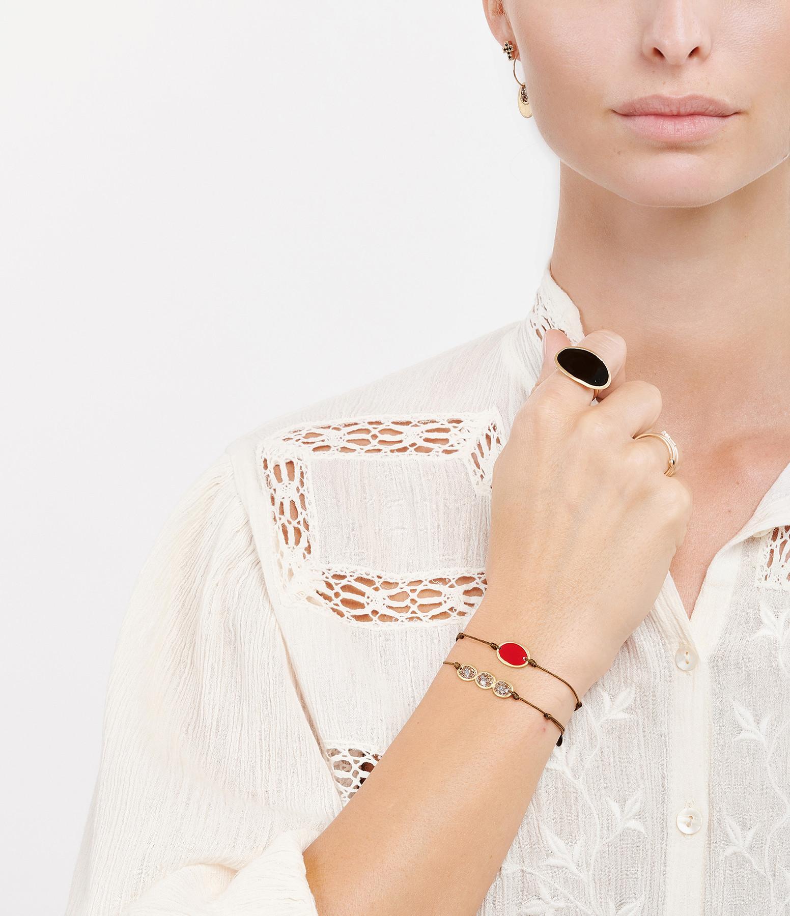 LSONGE - Bracelet Cordon Éclat XS 3 Médailles Taupe