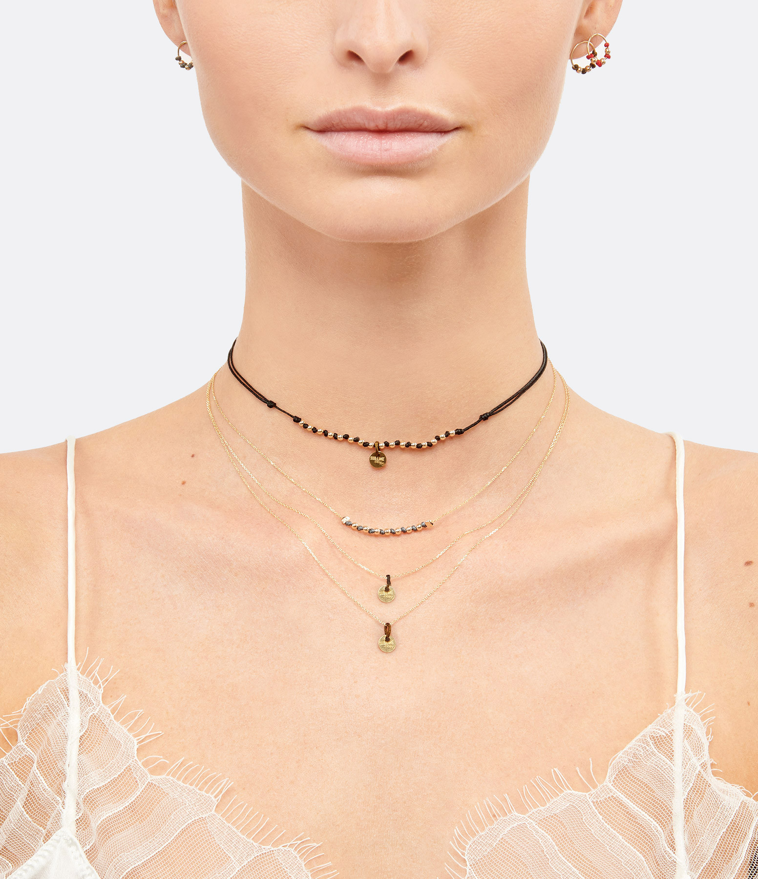 LSONGE - Collier Sublime 7 Perles Carbone Or
