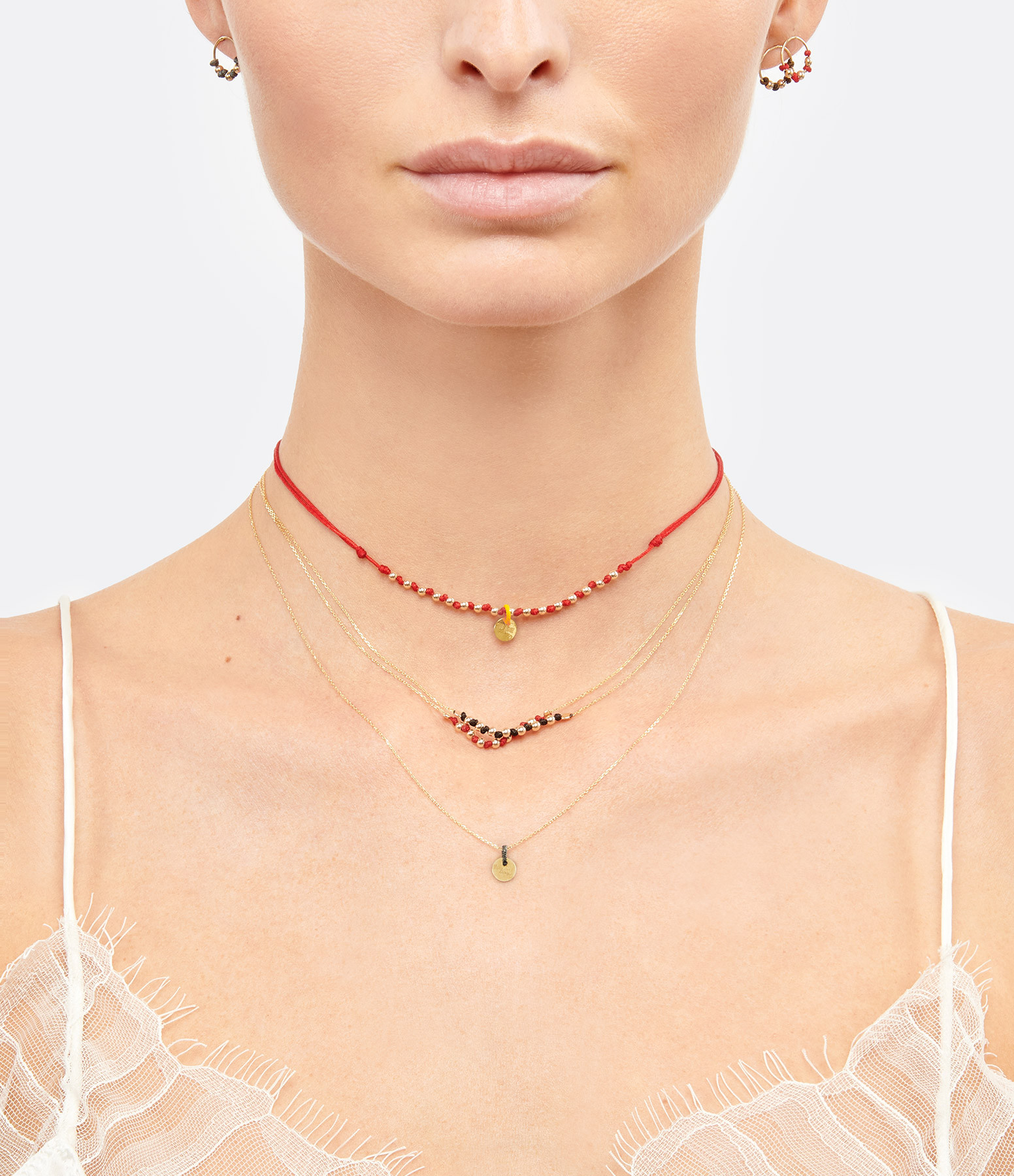 LSONGE - Collier Sublime 7 Perles Rubis Or