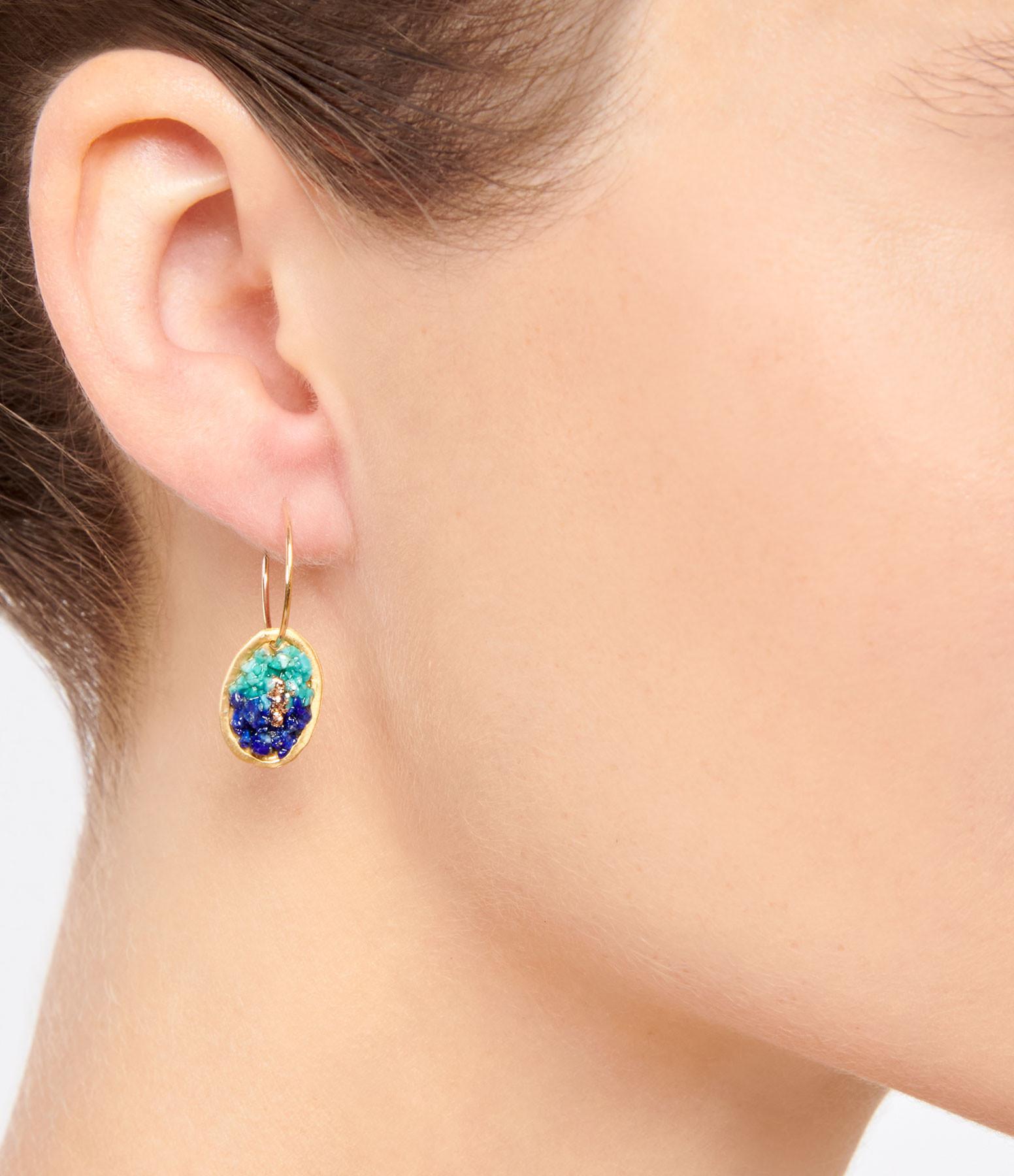 LSONGE - Boucles d'oreilles Lakota M Lapis Turquoise
