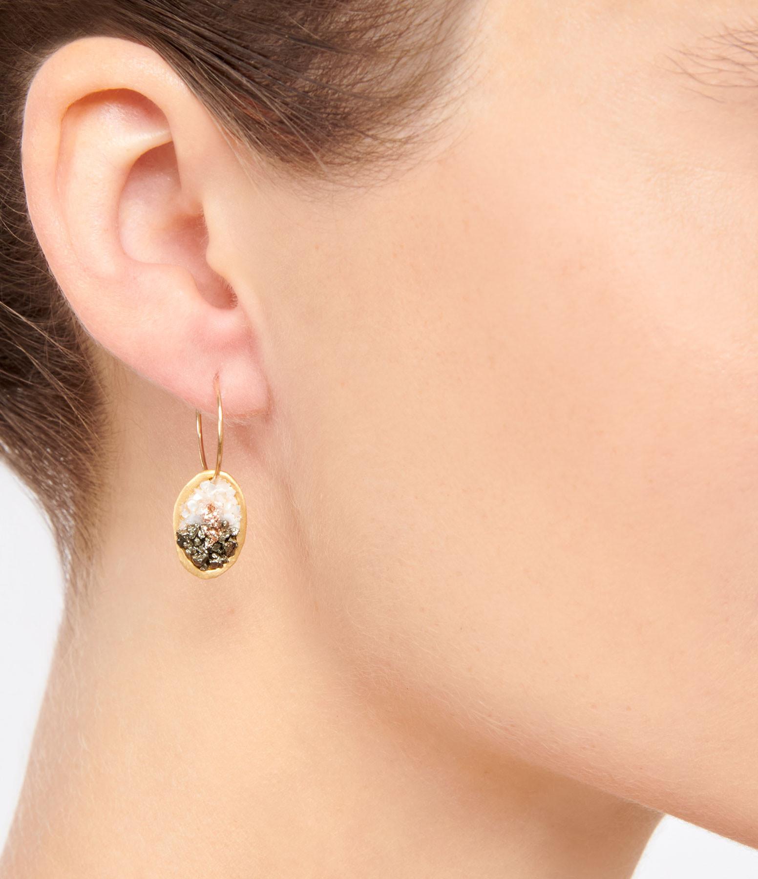 LSONGE - Boucles d'oreilles Lakota M Nacre Pyrite