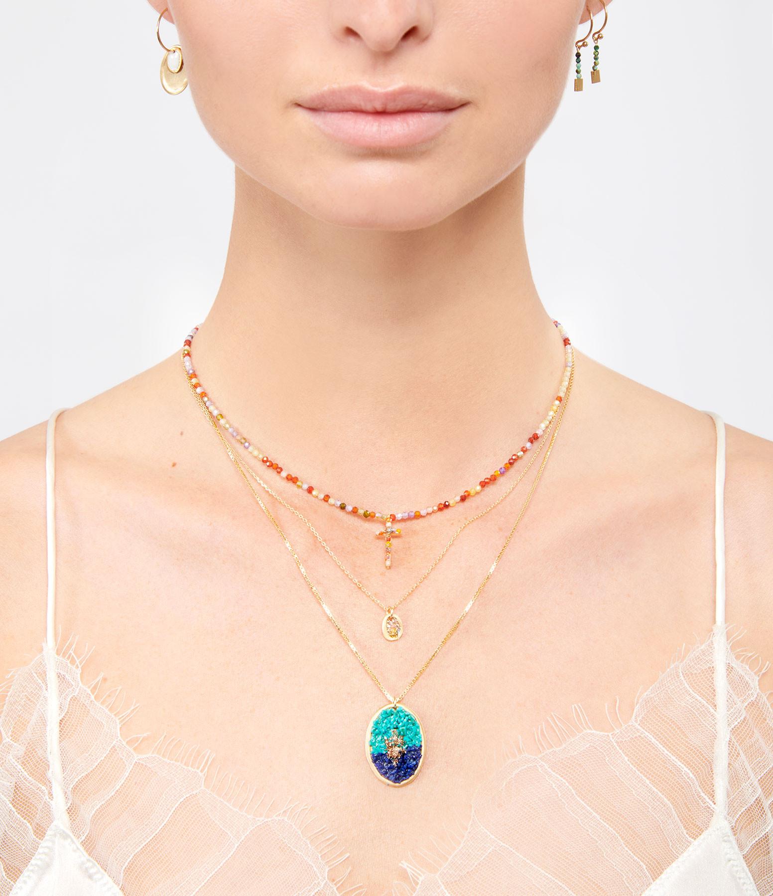 LSONGE - Collier Ras de Cou Croix Perles Émaillées