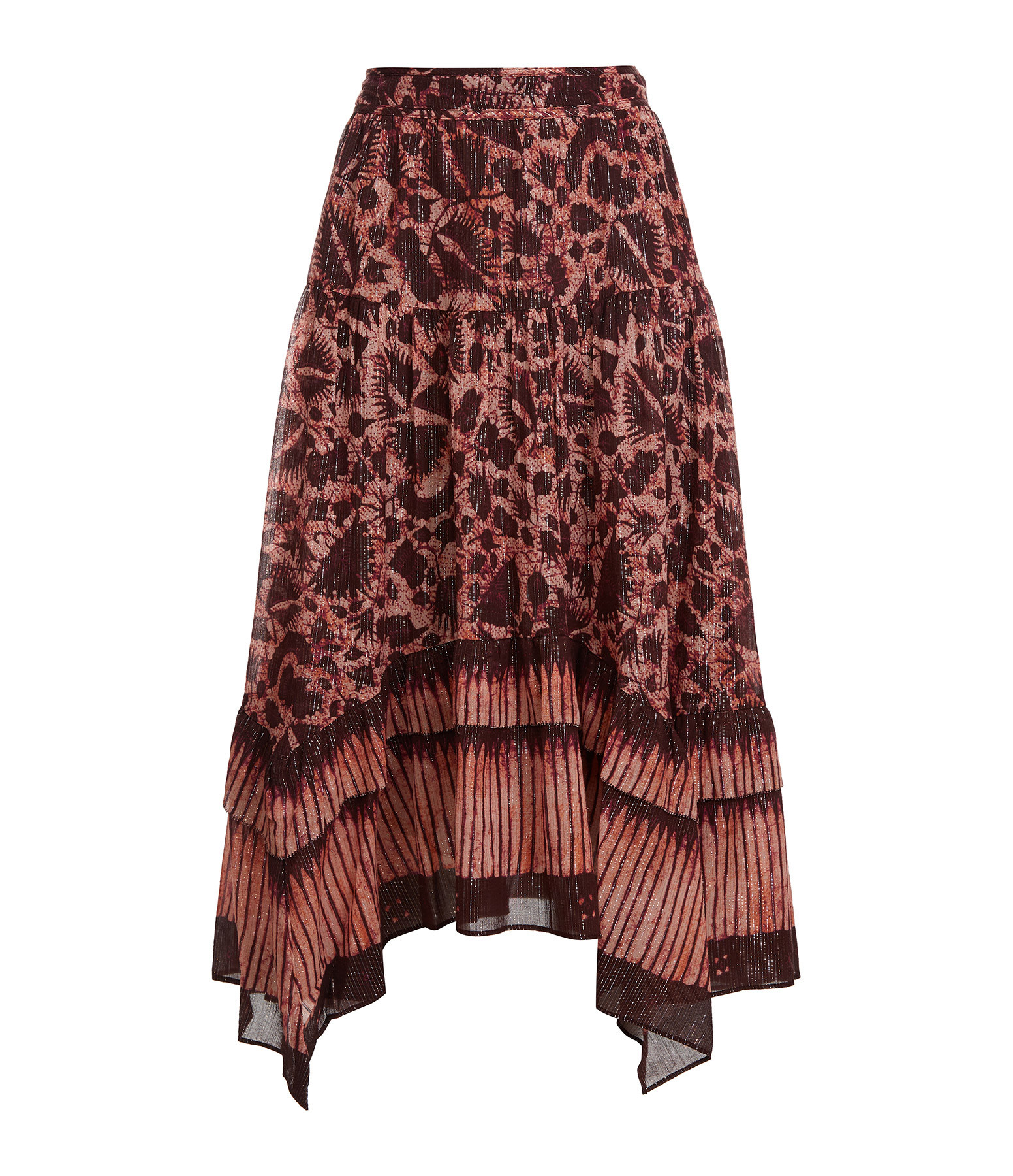 ULLA JOHNSON - Jupe Merisa Coton Soie Imprimé Batik Bordeaux