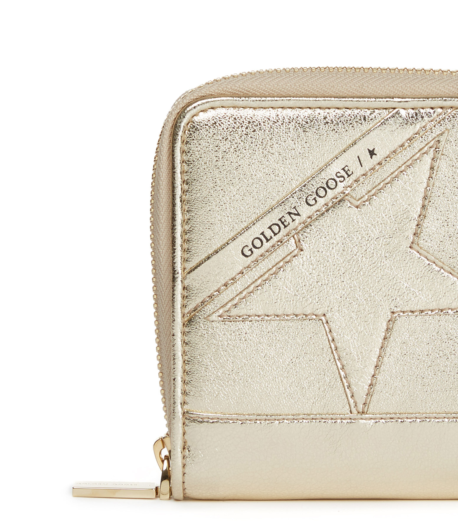 GOLDEN GOOSE - Portefeuille Star Medium Cuir Doré