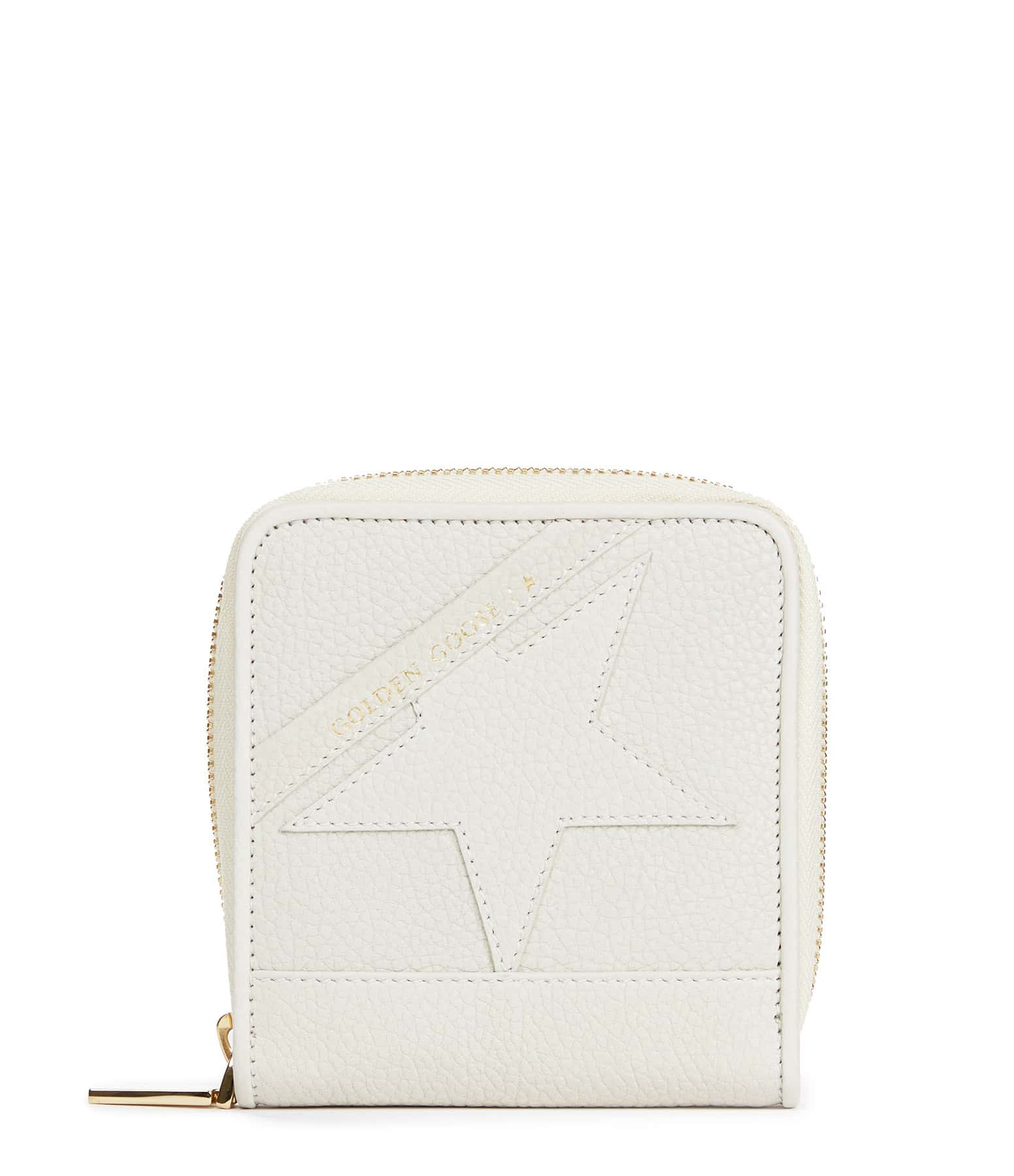 GOLDEN GOOSE - Portefeuille Star Medium Cuir Grainé Blanc