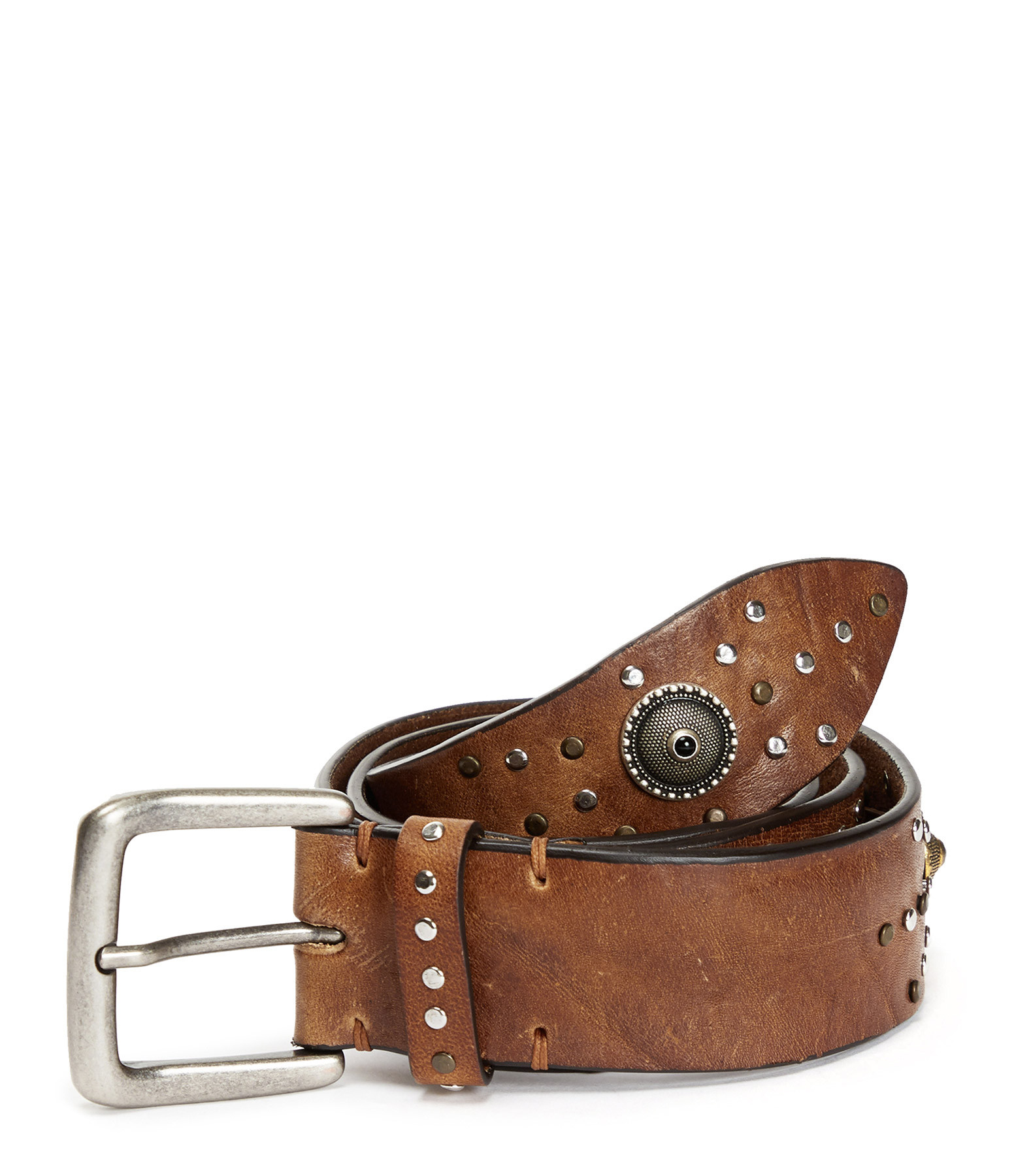 JEANNE VOULAND - Ceinture Cary Studs Cuir Miel