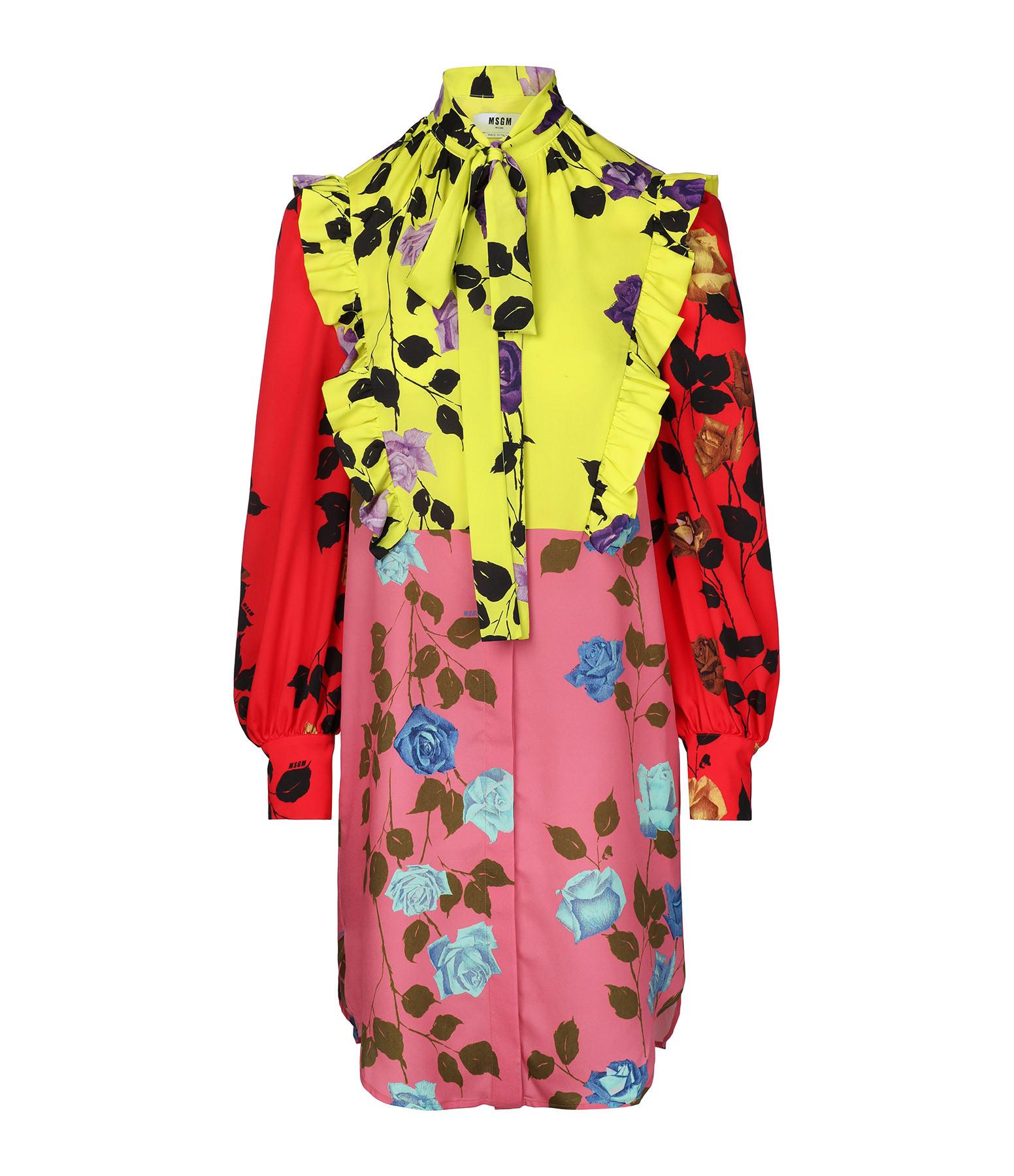 MSGM - Robe Imprimé Floral Rose Jaune
