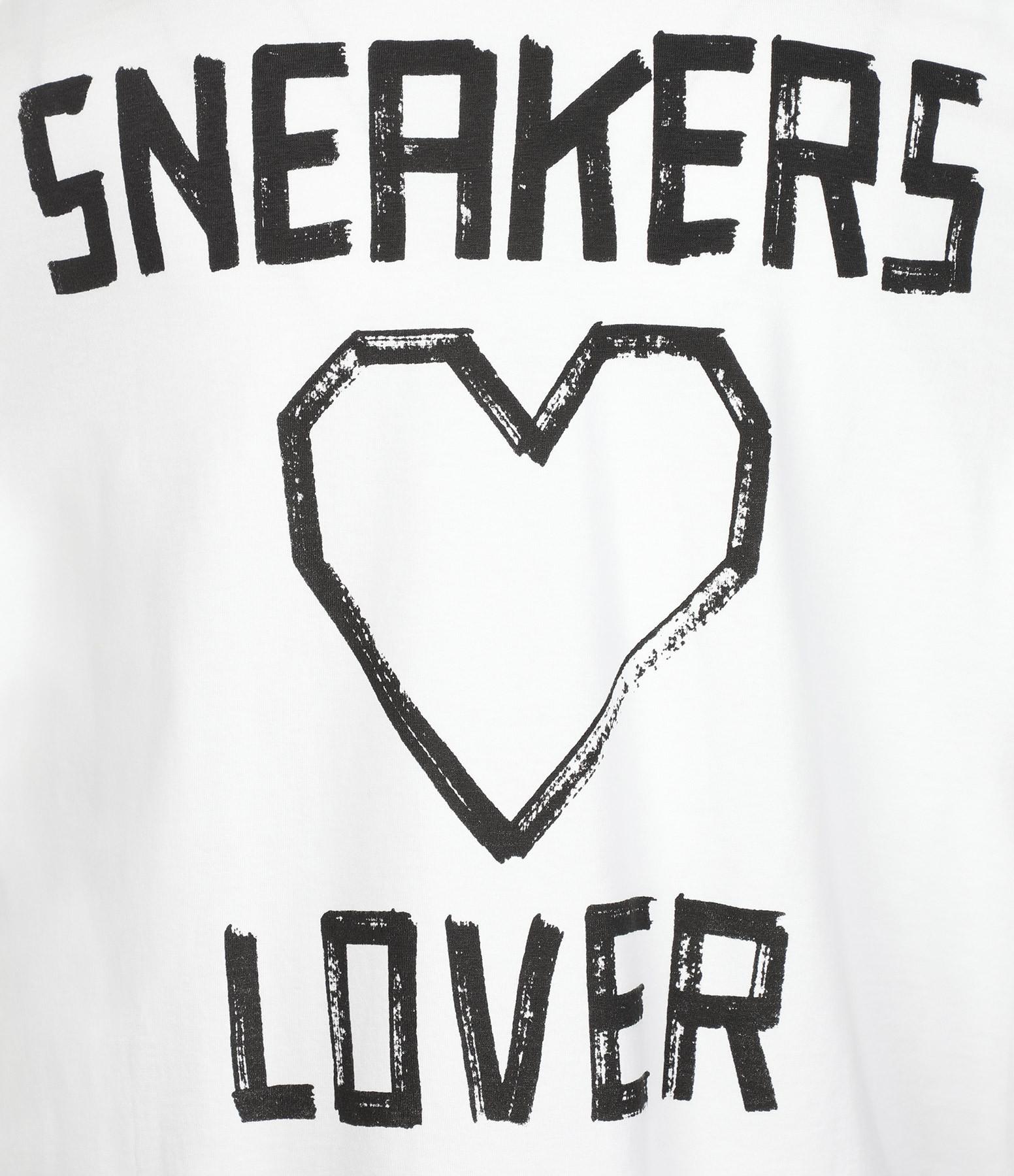 GOLDEN GOOSE - Tee-shirt Over Sneakers Love Coton Blanc