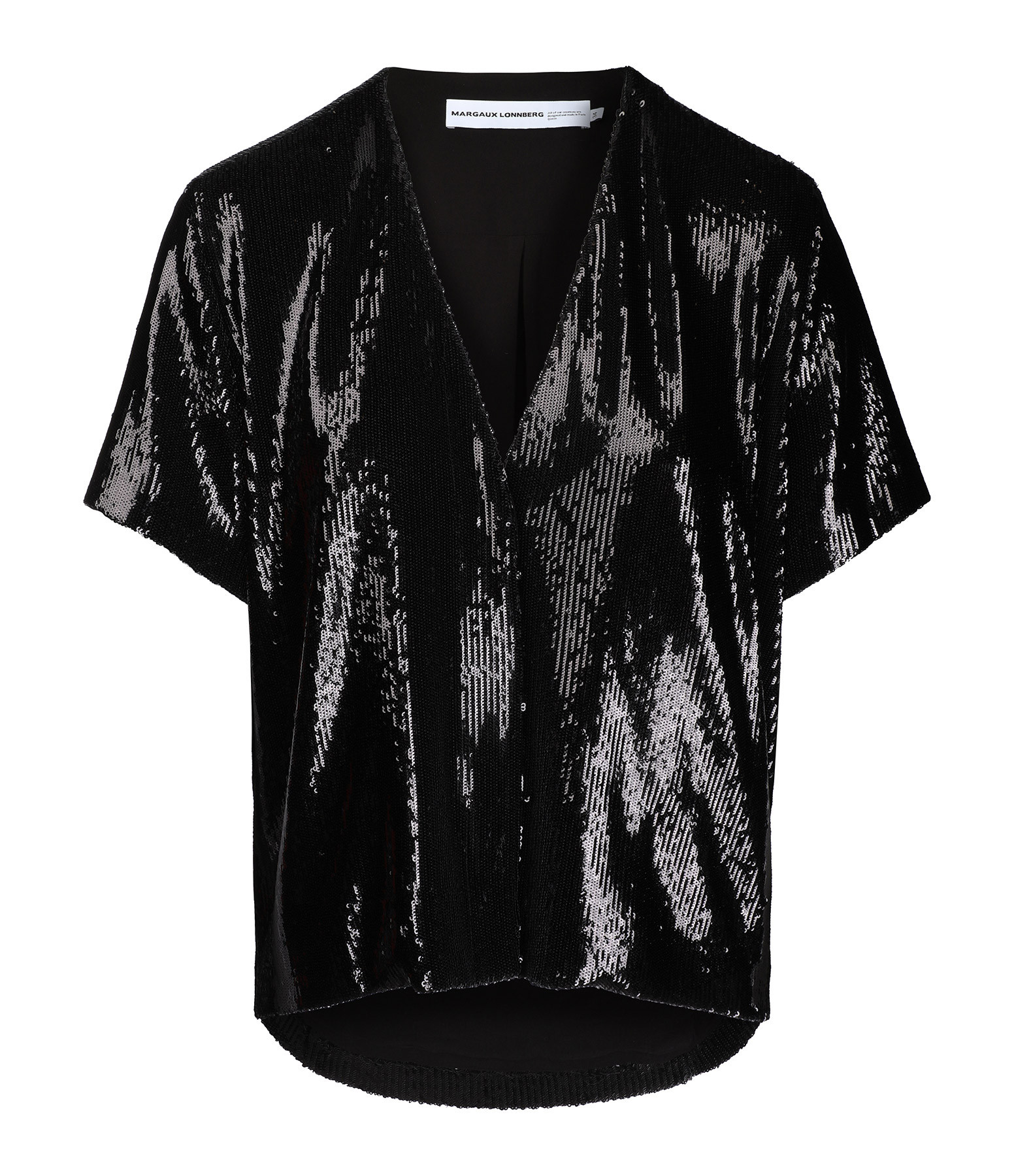 MARGAUX LONNBERG - Top Elson Sequin Noir Brillant