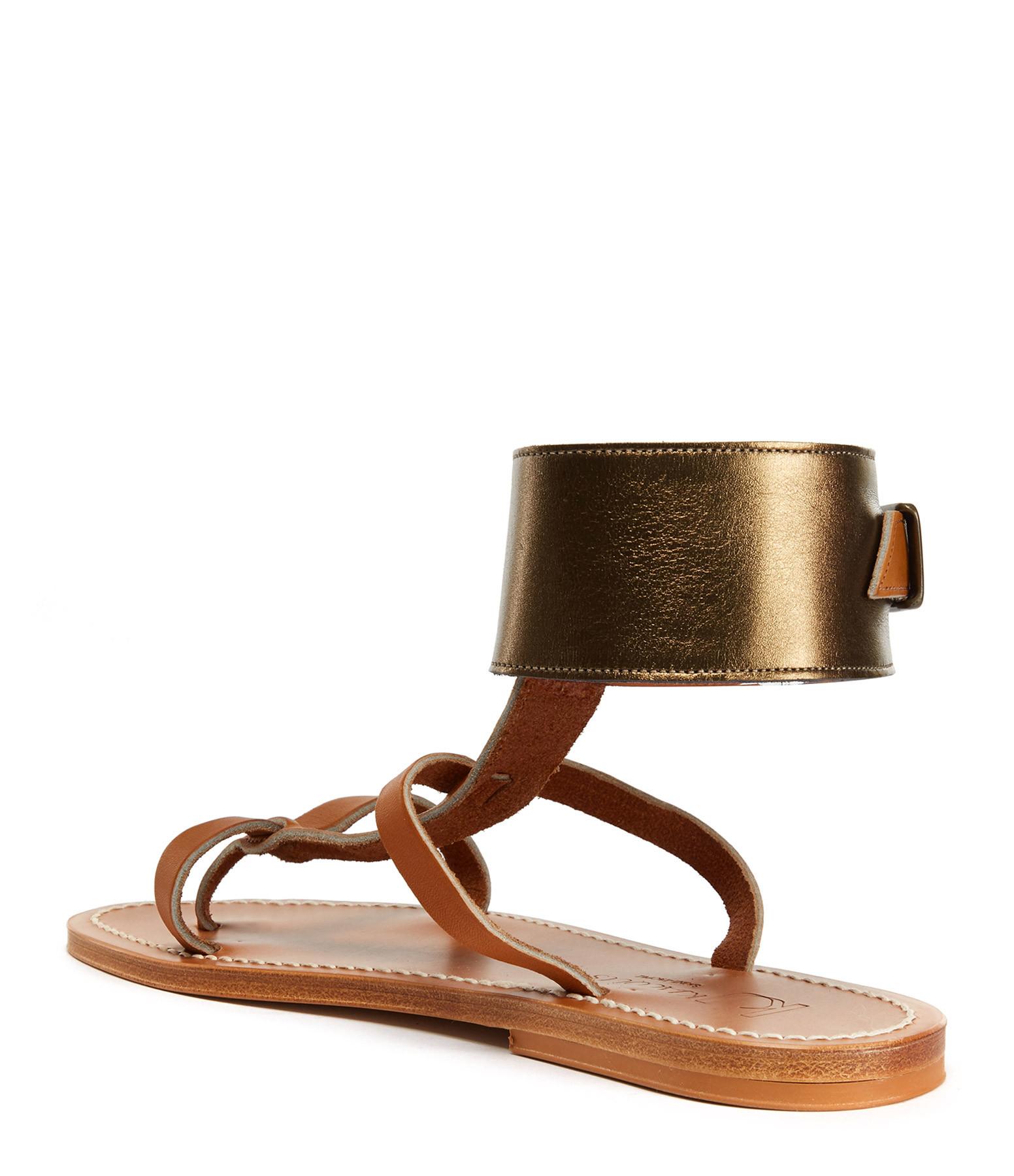 K.JACQUES - Sandales Caravelle Cuir Pul Naturel Lamé Bronze