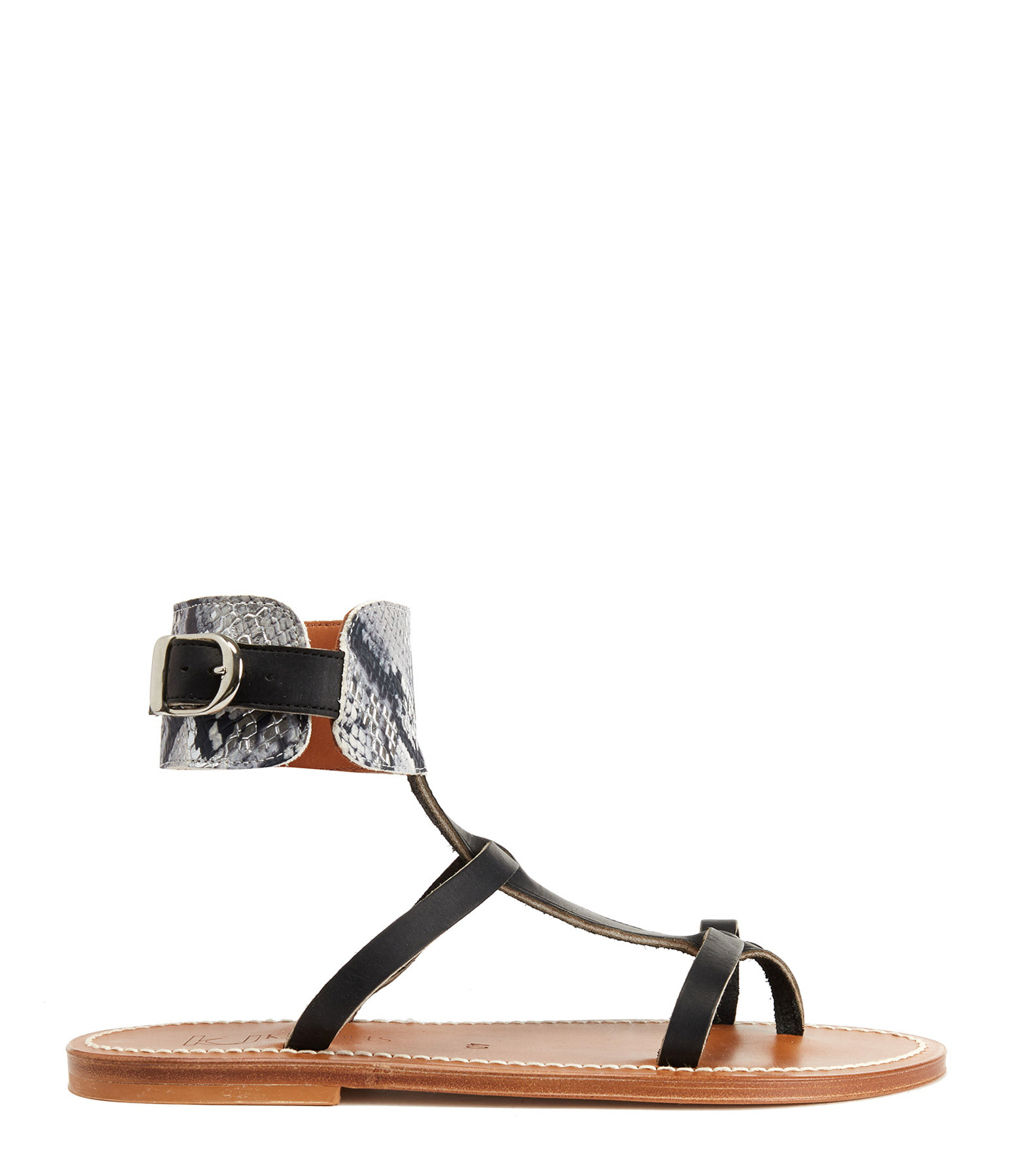 K.JACQUES - Sandales Caravelle Cuir Pul Noir Hawai Blanc