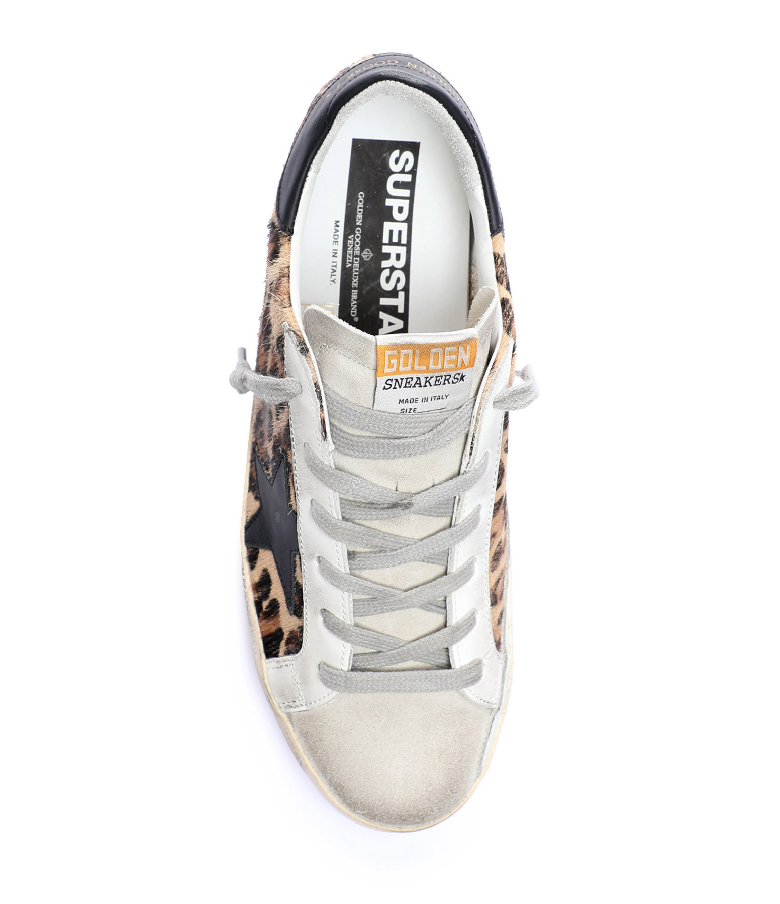 GOLDEN GOOSE - Baskets Superstar Cuir Léopard Beige