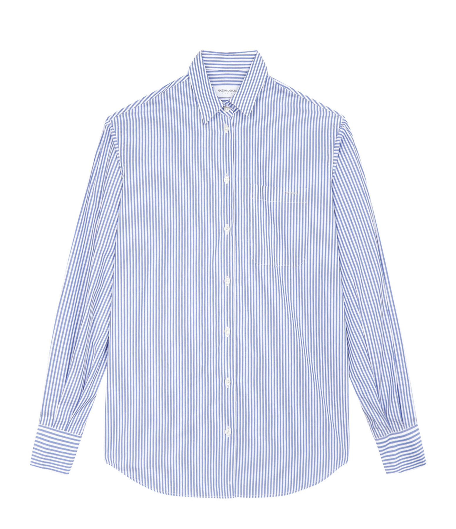 MAISON LABICHE - Chemise Amour Coton Rayures Bleu Blanc