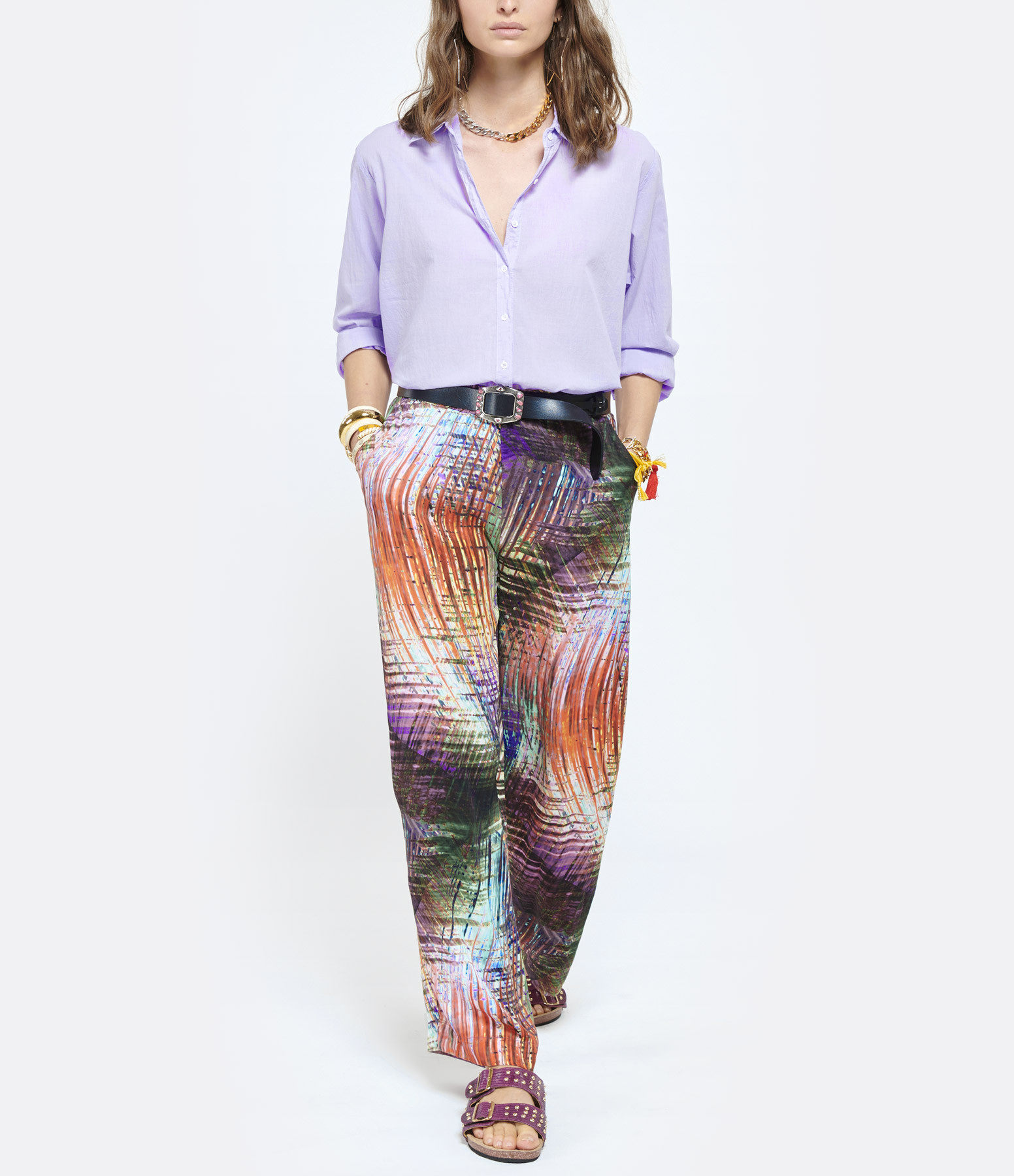 MAEVY - Pantalon Cameliaprint Imprimé Multicolore